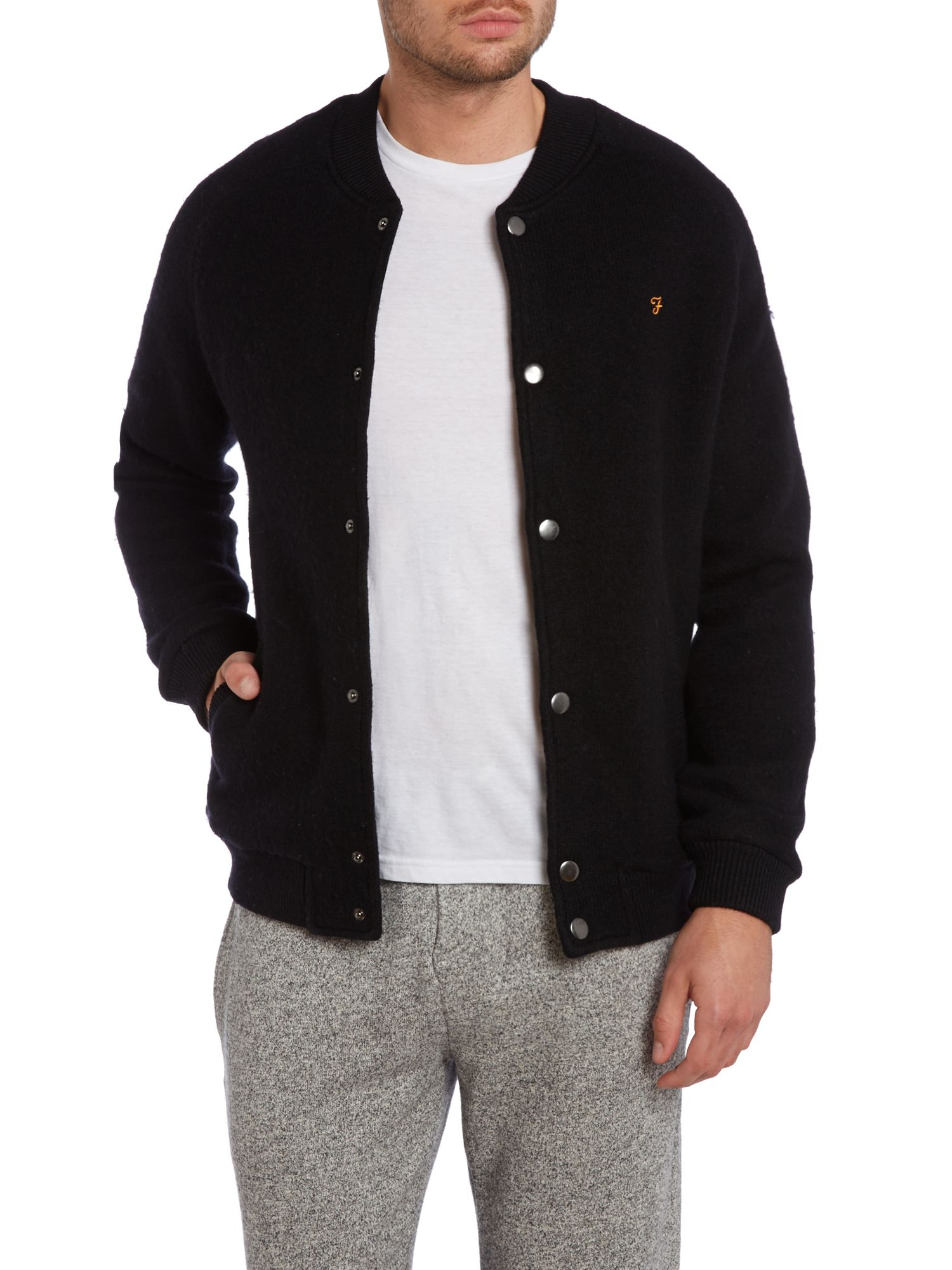Farah Wool Bomber Jacket in Black for Men | Lyst