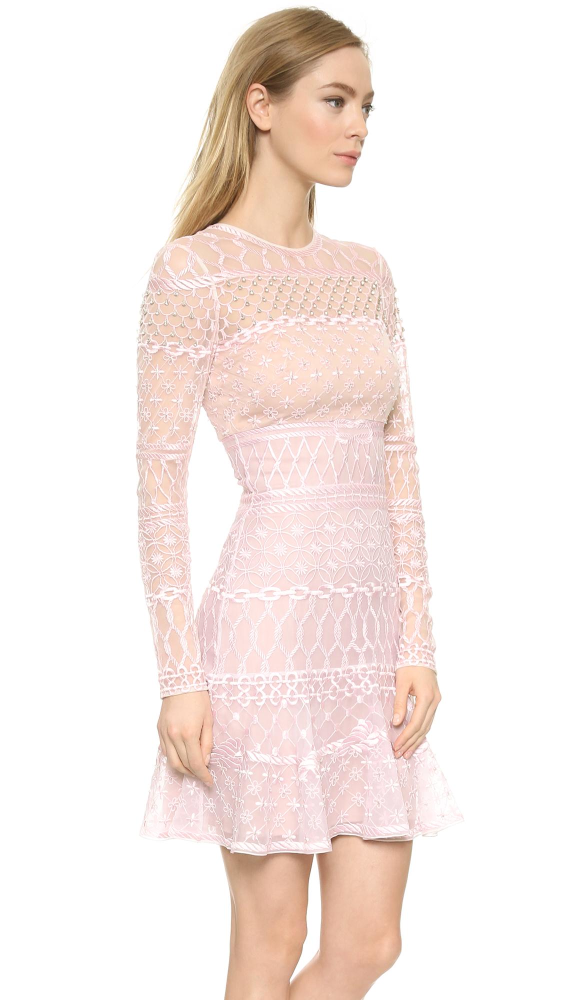 Temperley london Mini Fishnet Dress - Pink Mix in Pink | Lyst
