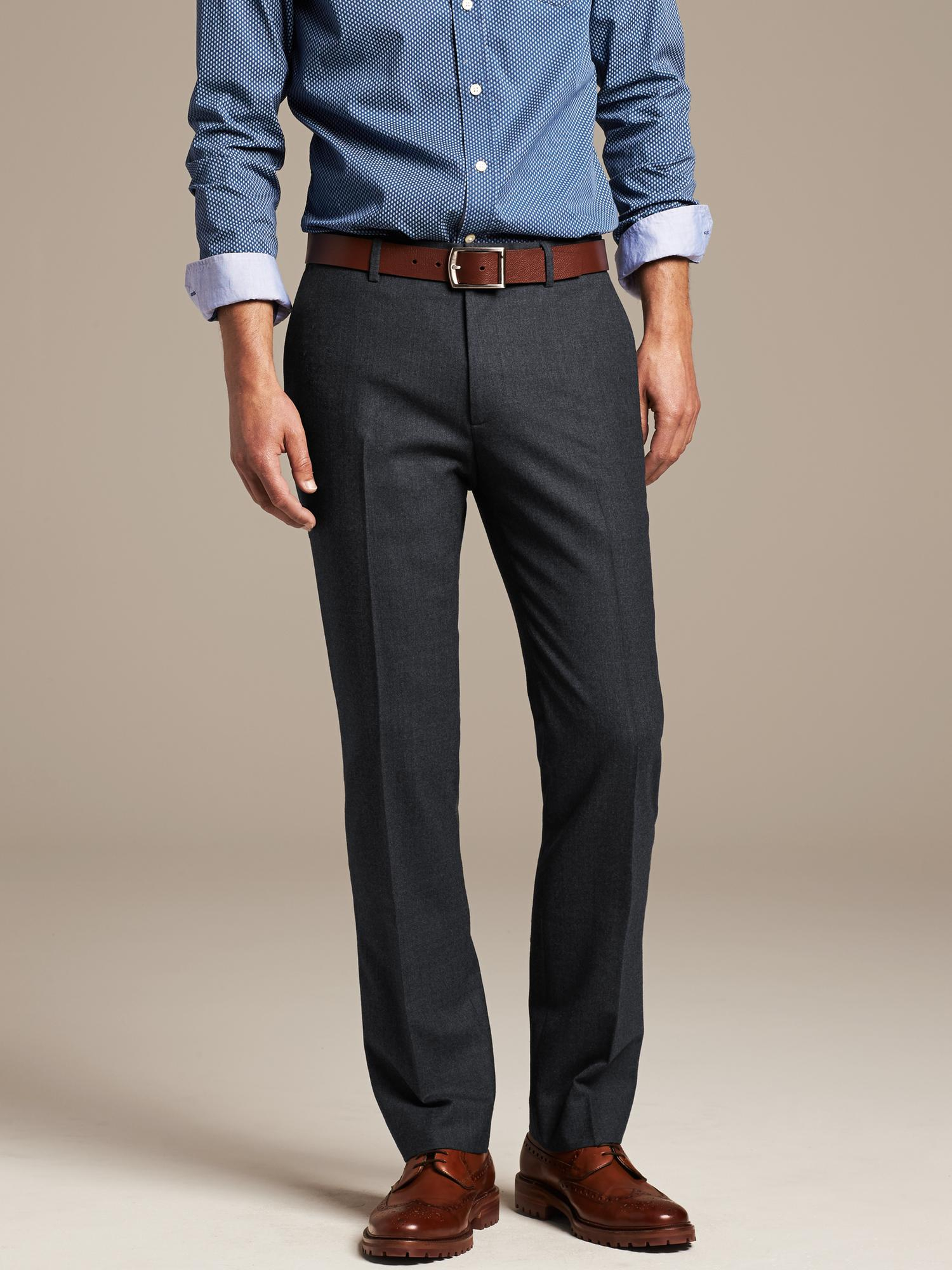 Banana Republic Tailored Slim Fit Flannel Dress Pant In