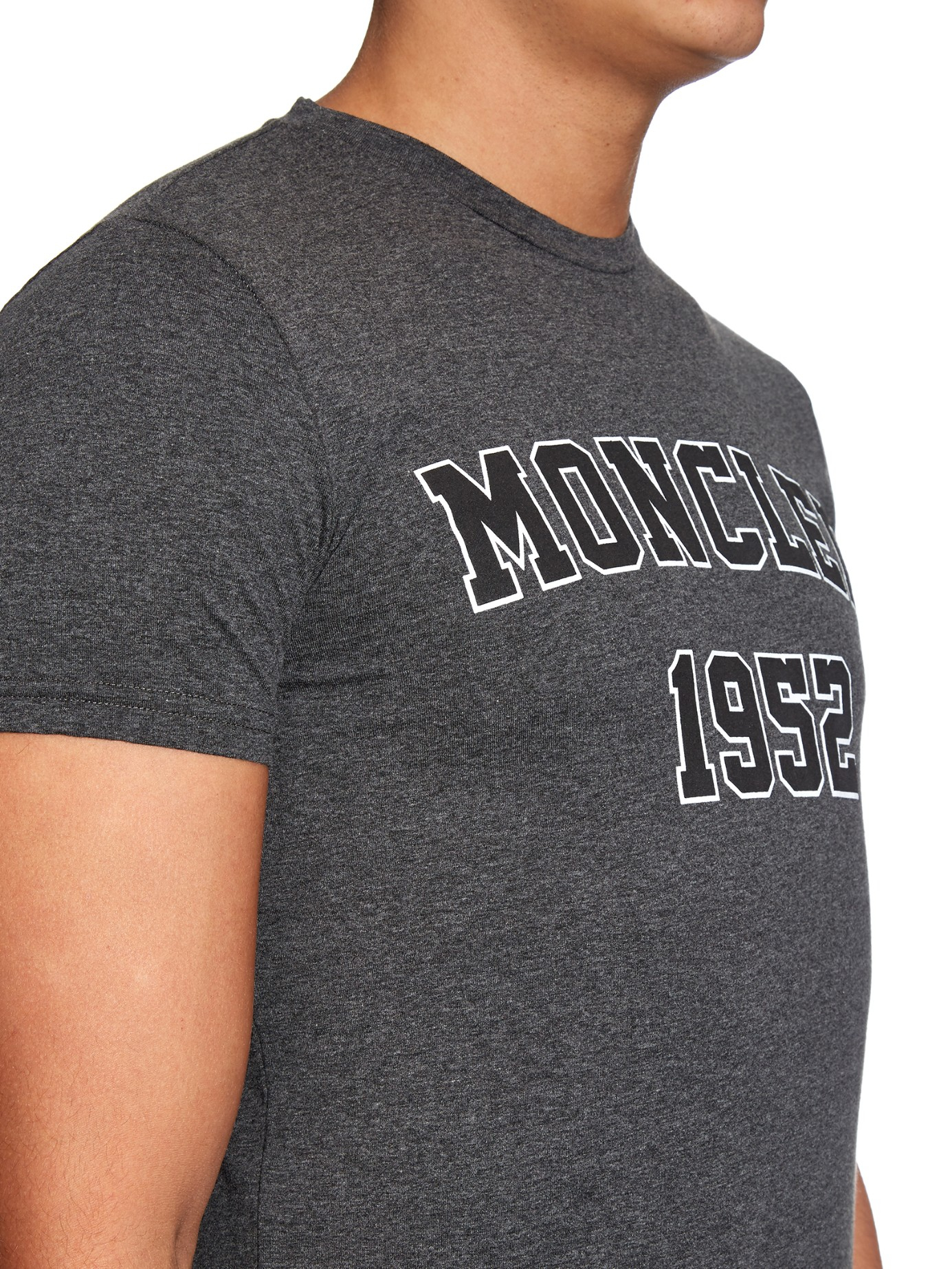moncler 1952 logo print jersey t shirt in gray for men lyst. Black Bedroom Furniture Sets. Home Design Ideas