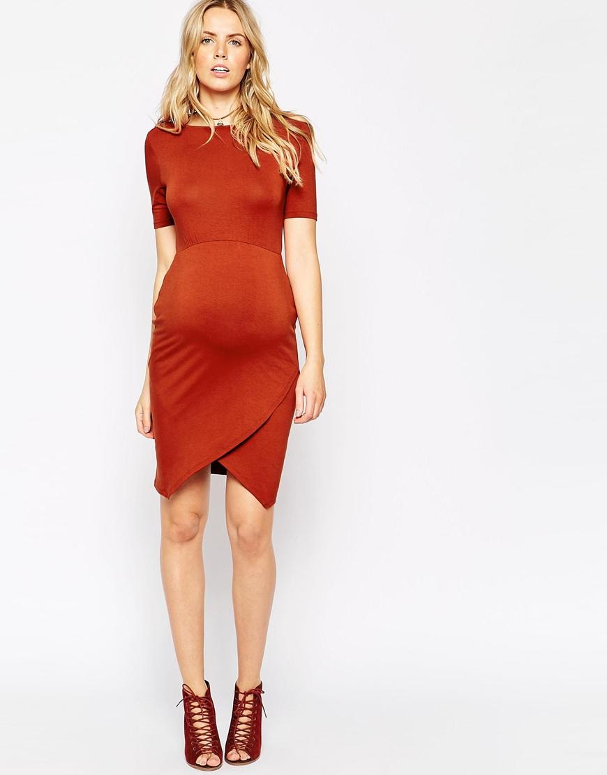 Lyst asos maternity bodycon dress with asymmetric hem in orange gallery ombrellifo Choice Image