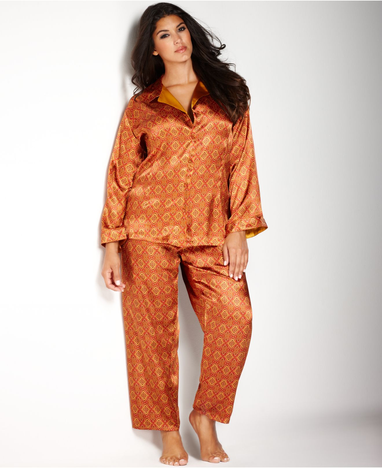 7e186b37bf43c Lyst - Jones New York Plus Size Printed Satin Pajama Set in Orange