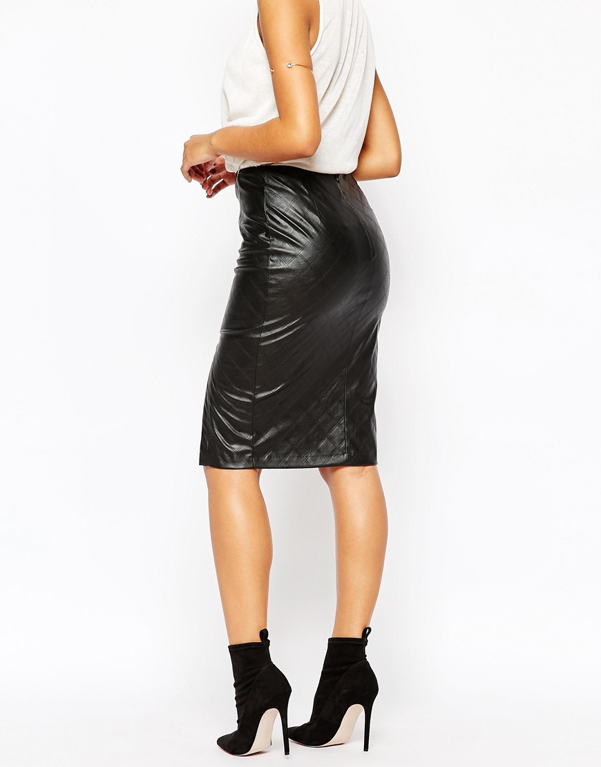 Lyst Lipsy Quilted Faux Leather Pencil Skirt With Side