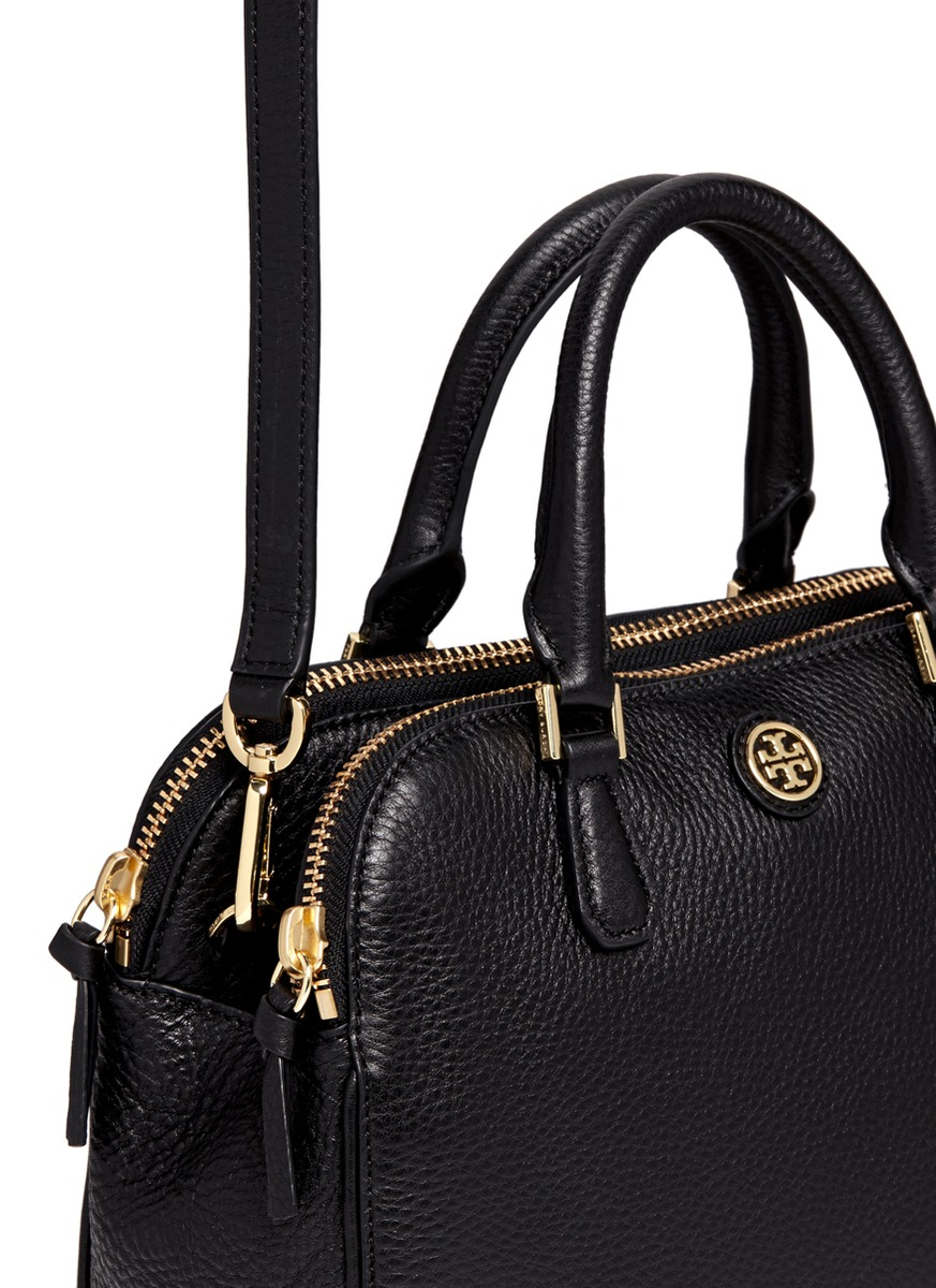 f7d1585d2fa4 Lyst Tory Burch Robinson Small Double Zip Pebbled Leather. Robinson Mini  Double Zip Tote Bag Black