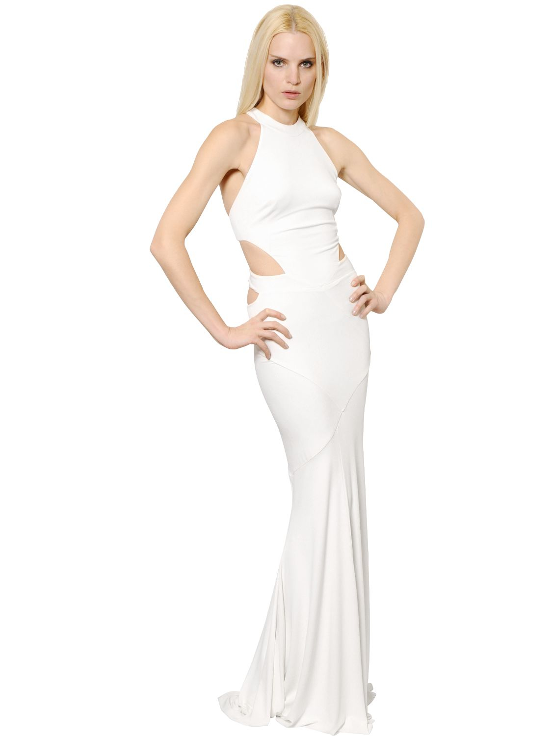 Lyst - Alexandre Vauthier Cutout Stretch Jersey Dress in White