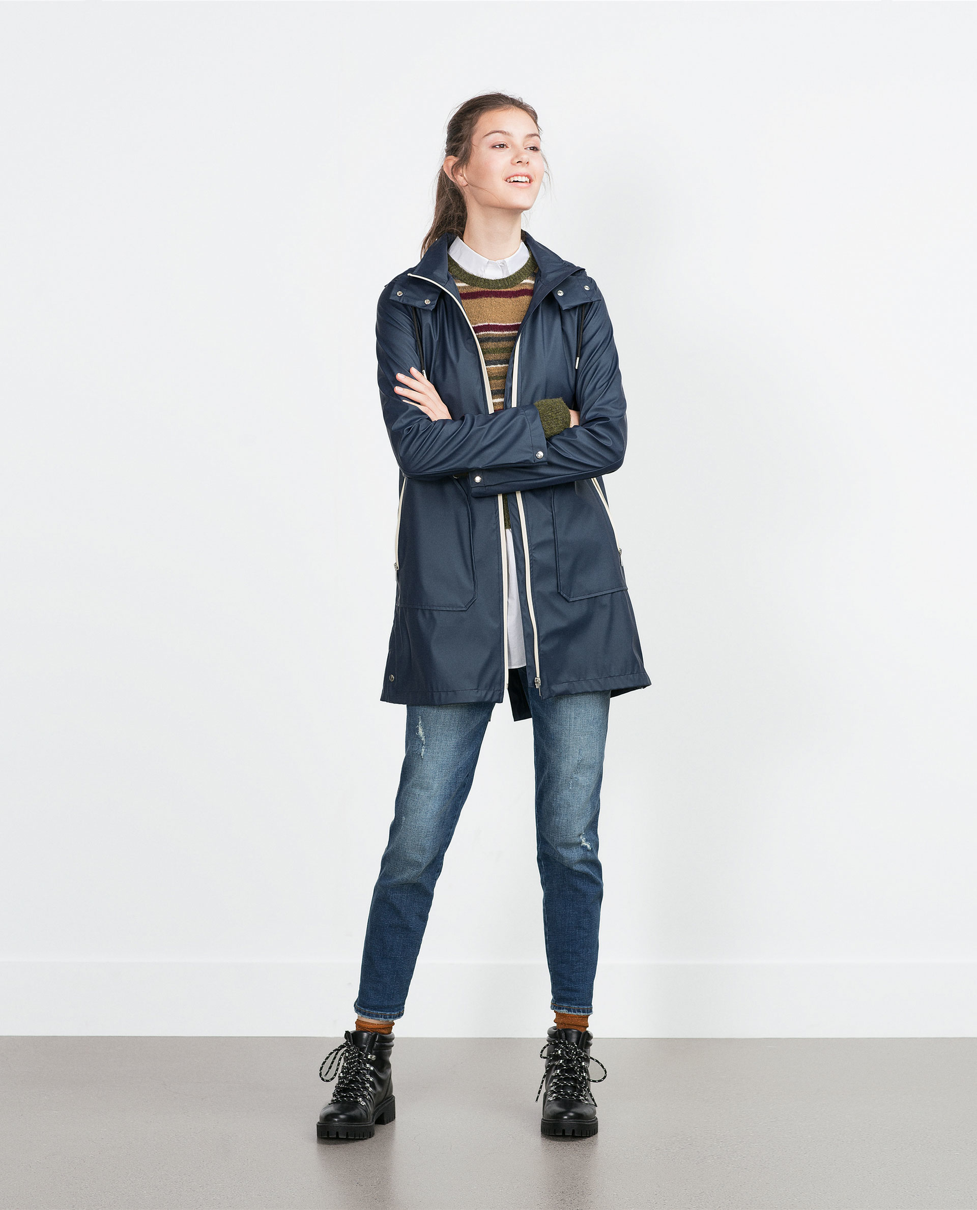 Zara Navy Raincoat in Blue | Lyst