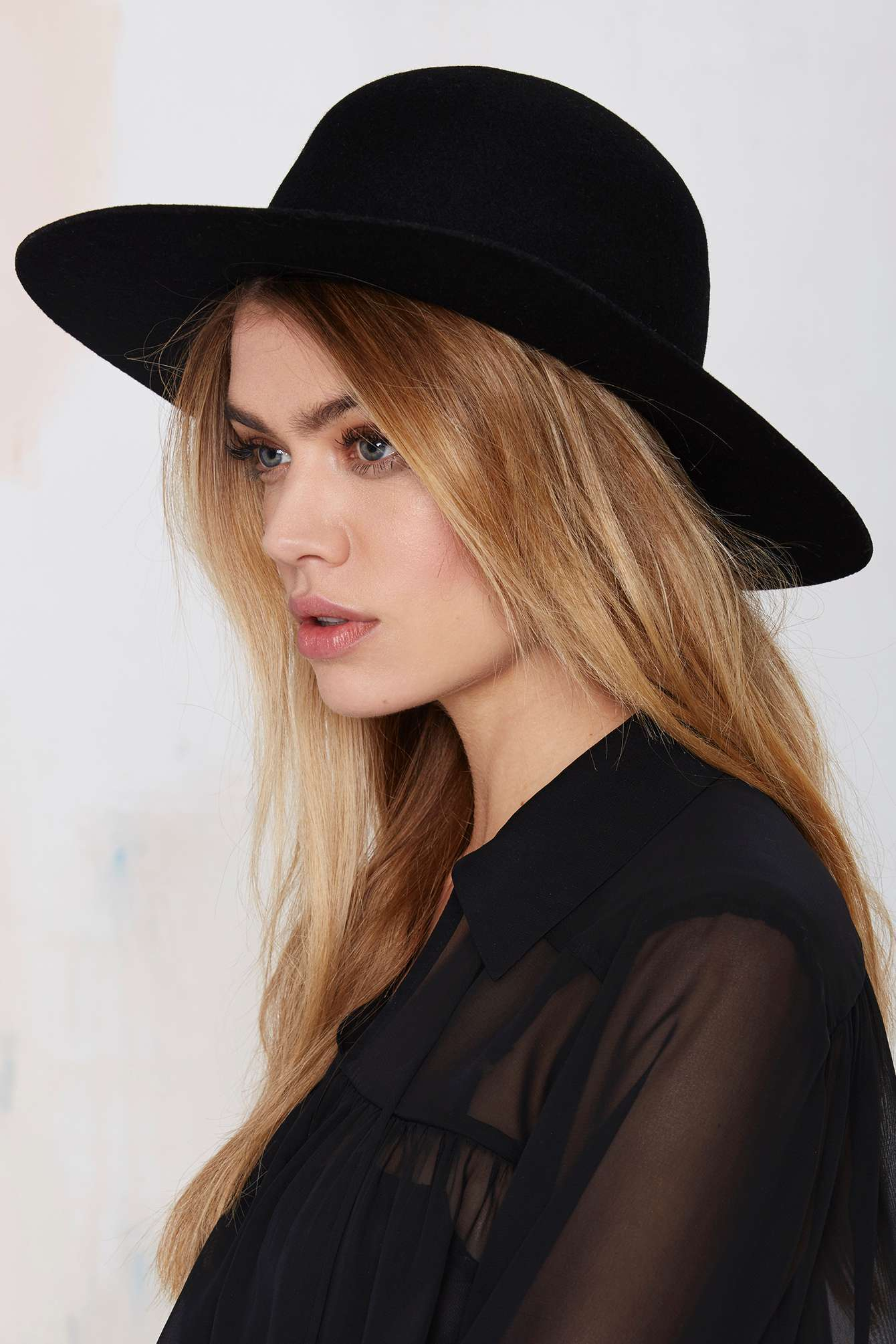 9781715b714b9 ... top quality lyst nasty gal brixton magdalena wool hat in black ed884  9dff7