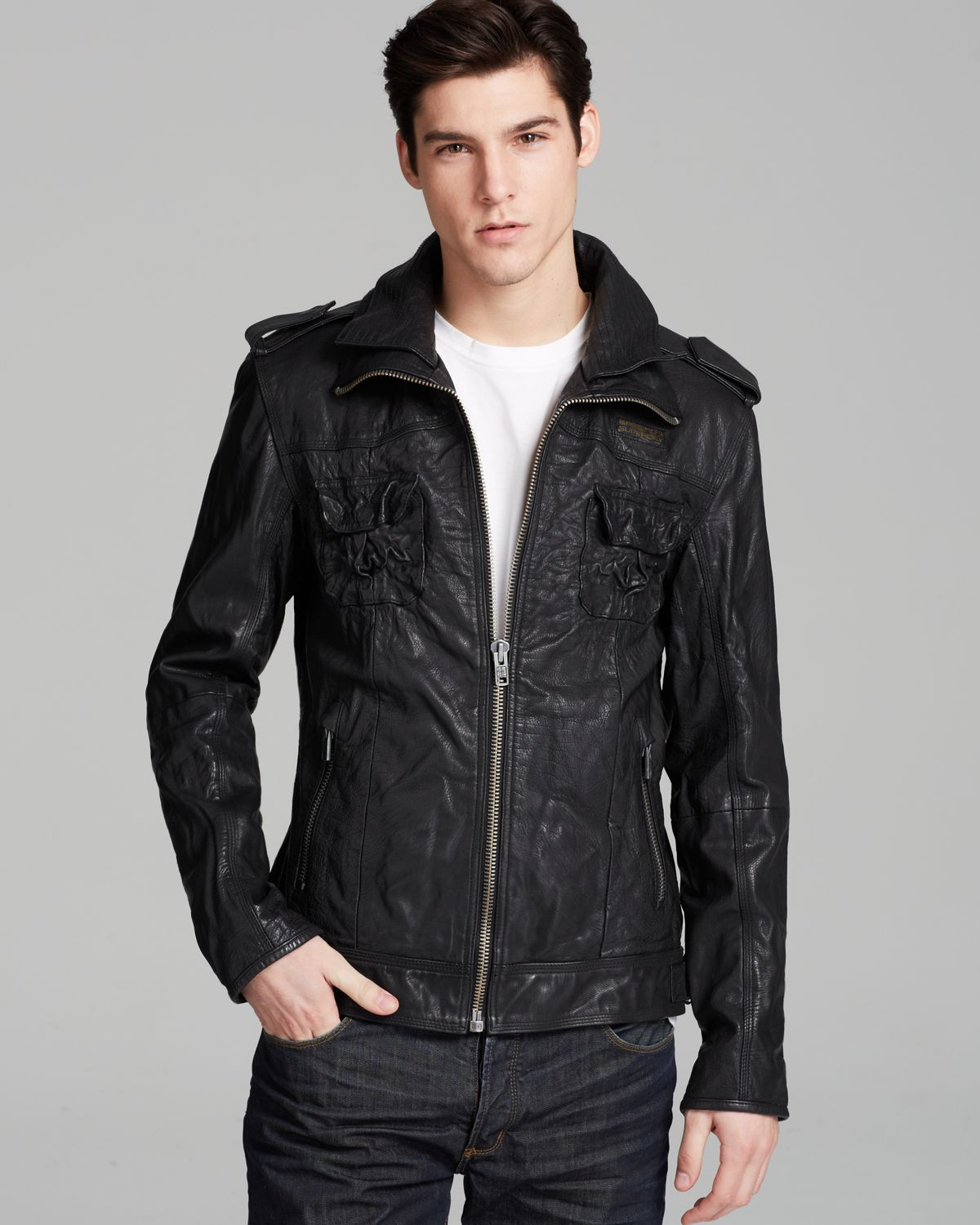 d7eb6d70d9b1 Superdry Ryan Leather Jacket in Black for Men - Lyst