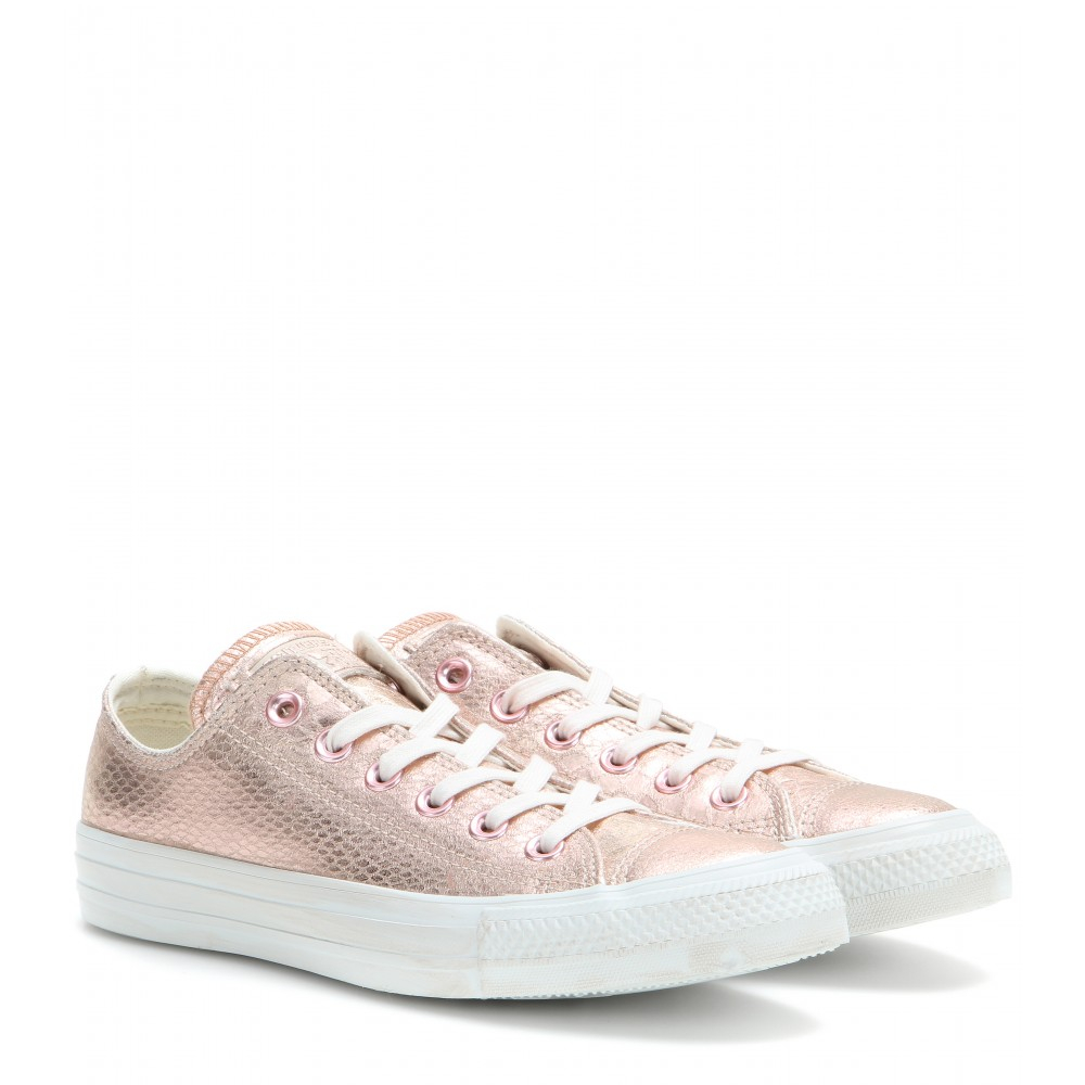18b36ce52656 Converse Chuck Taylor Ox Metallic Leather Sneakers in Pink - Lyst