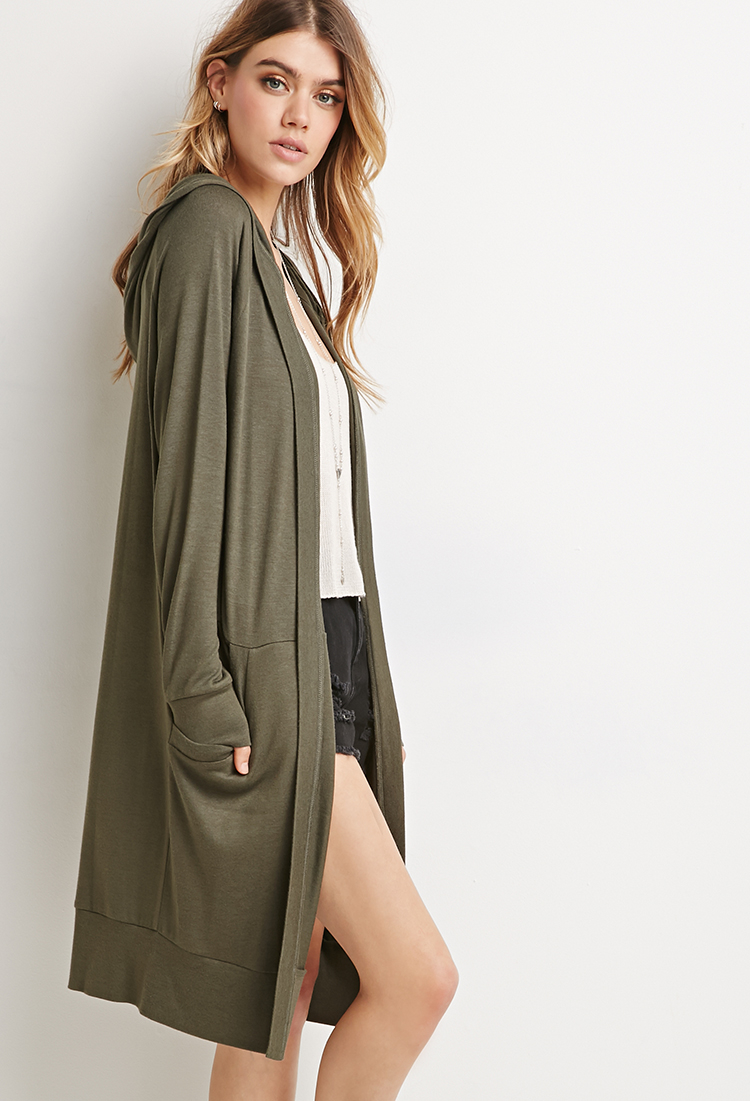 Forever 21 Longline Hooded Cardigan in Green | Lyst