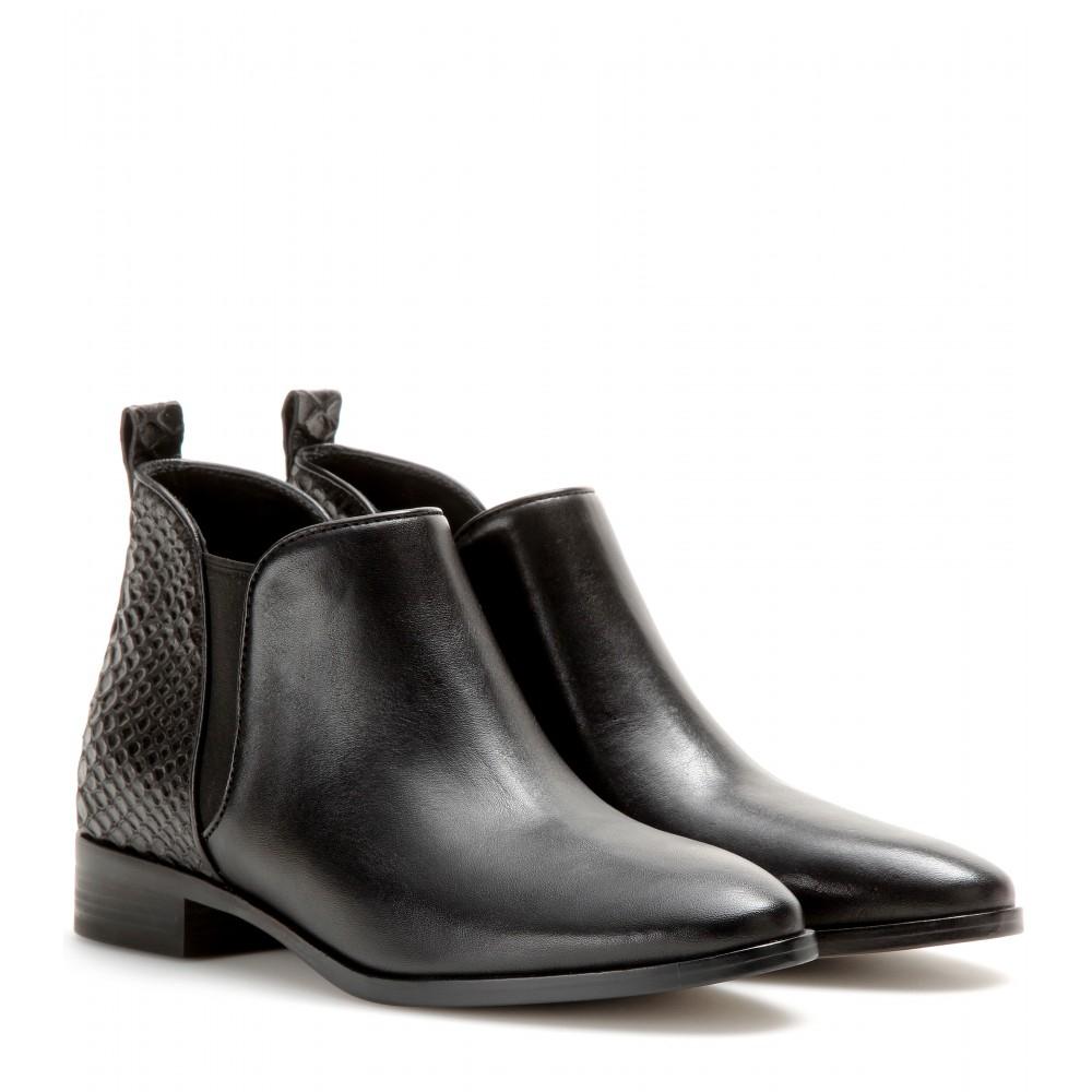 michael michael kors brandy leather ankle boots in black. Black Bedroom Furniture Sets. Home Design Ideas