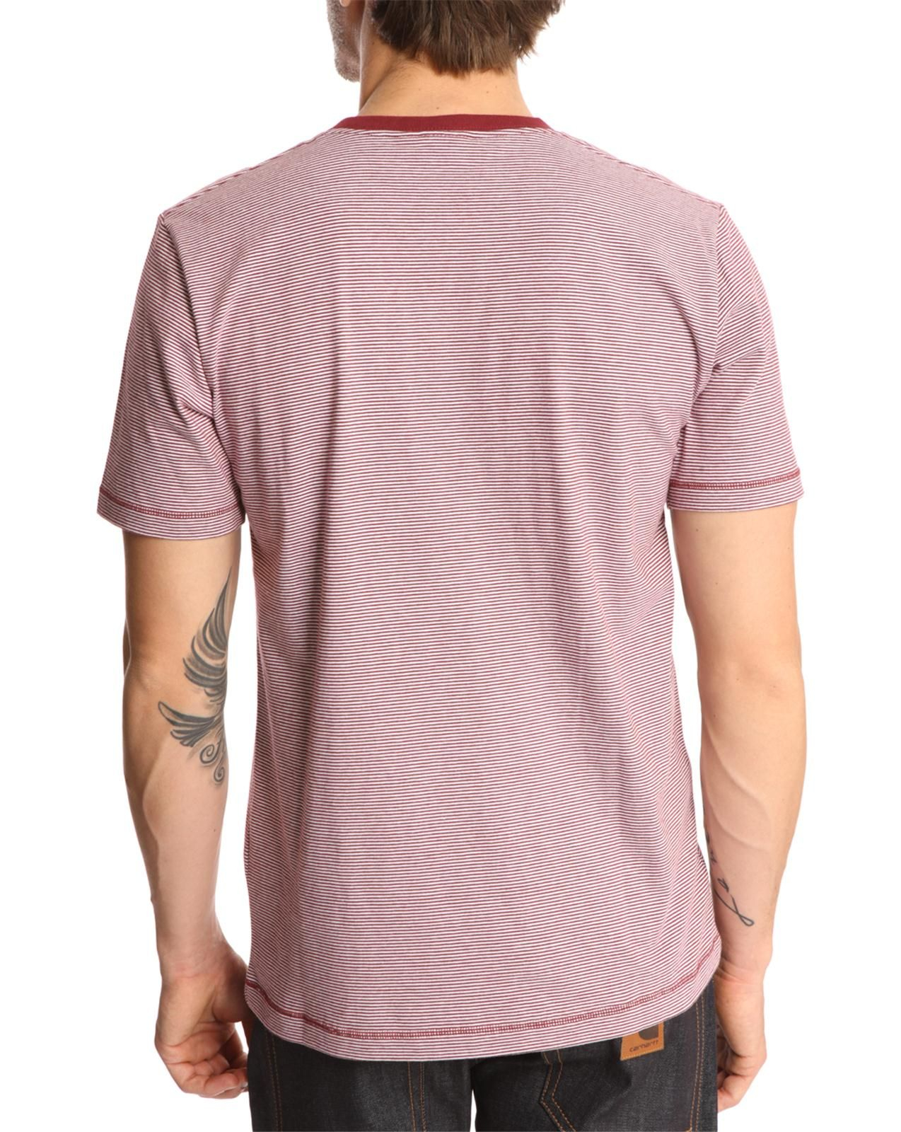 Carhartt ss loft striped maroon tshirt with pocket in red for Carhartt burgundy t shirt