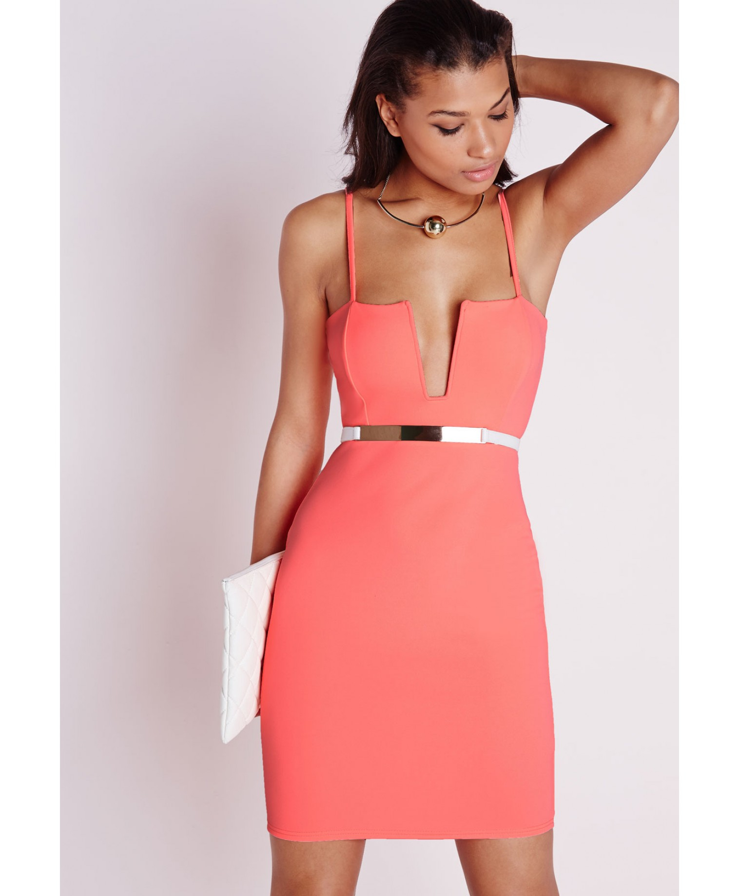 Missguided Strappy Square Neck Bodycon Dress Neon Coral in Pink | Lyst