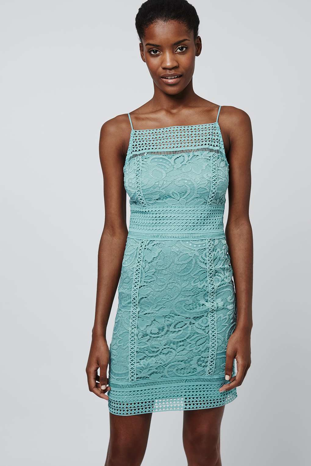 Lyst Topshop Floral Lace Bodycon Dress In Blue