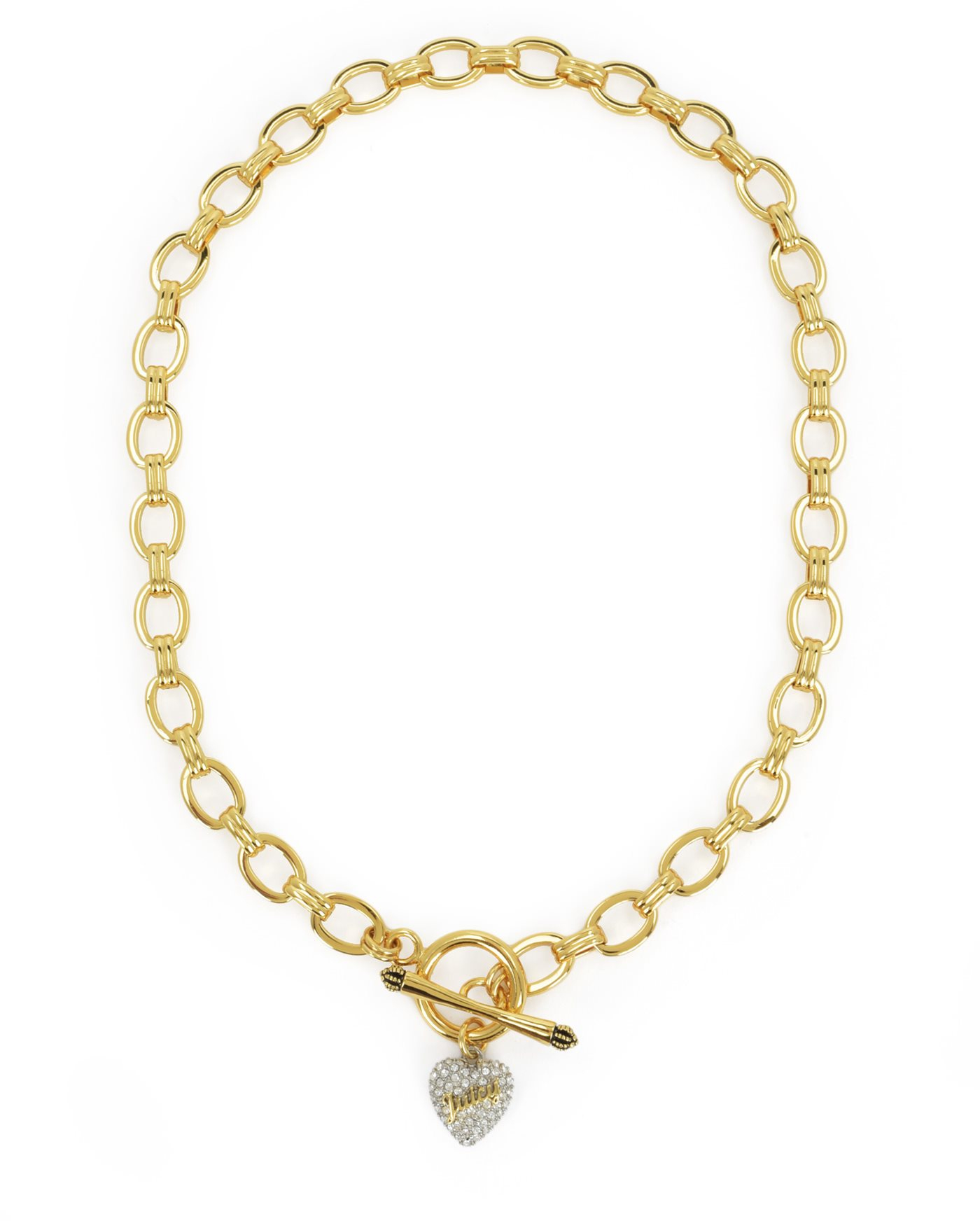 Juicy couture Pave Heart Starter Necklace in Metallic | Lyst