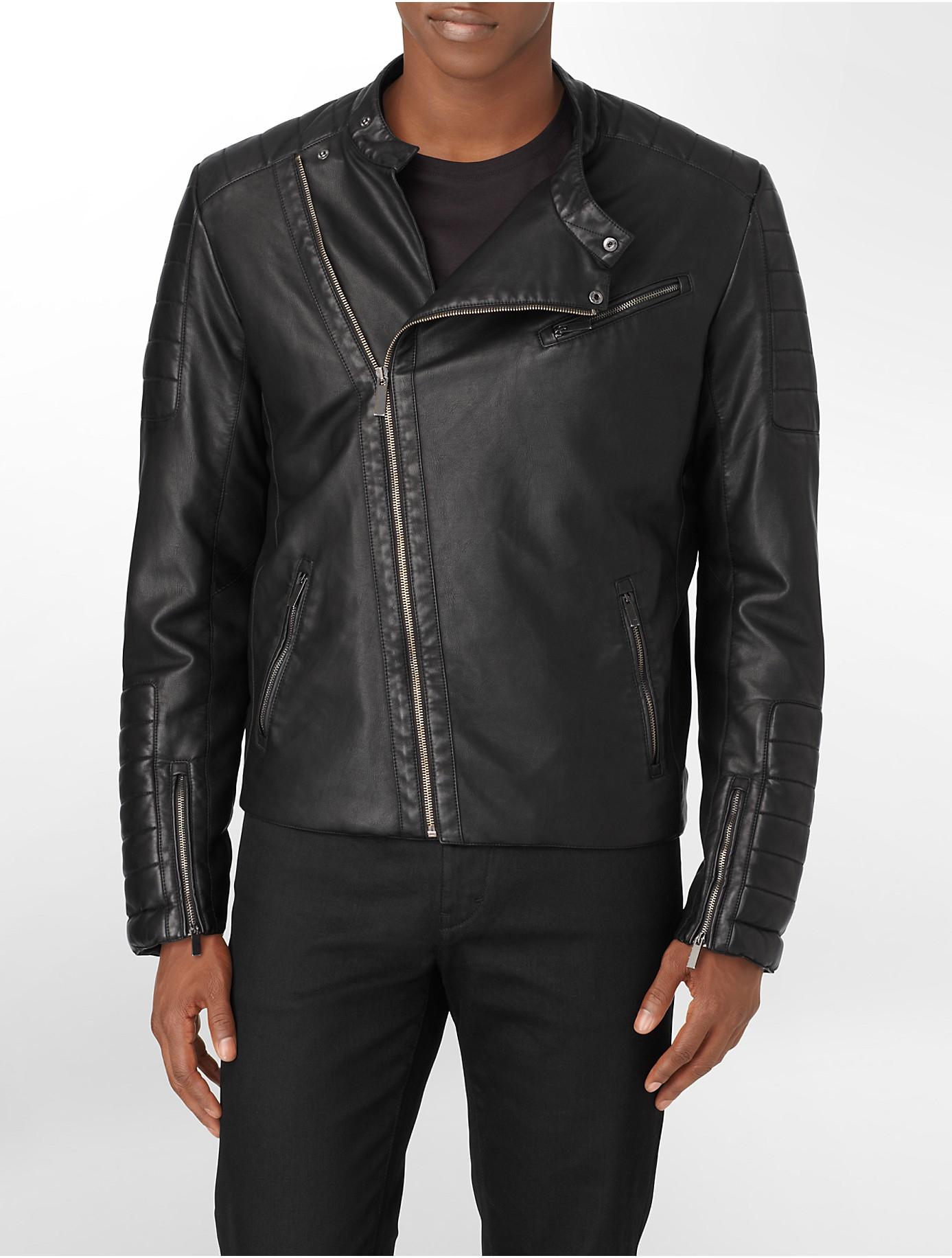 calvin klein men's faux leather asymmetrical moto jacket