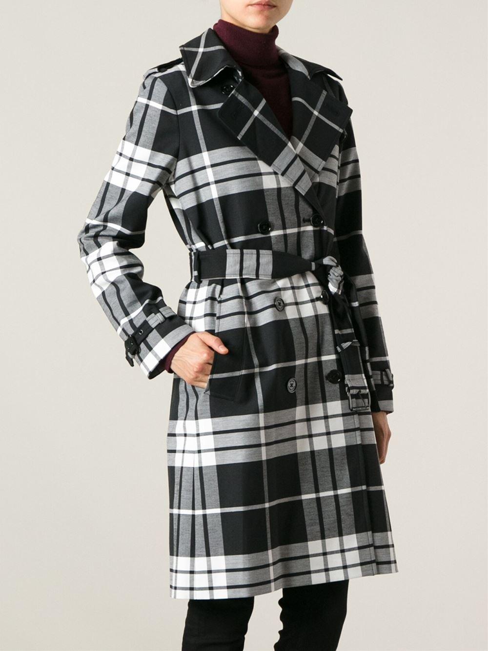 Michael kors Plaid Trench Coat in Black | Lyst