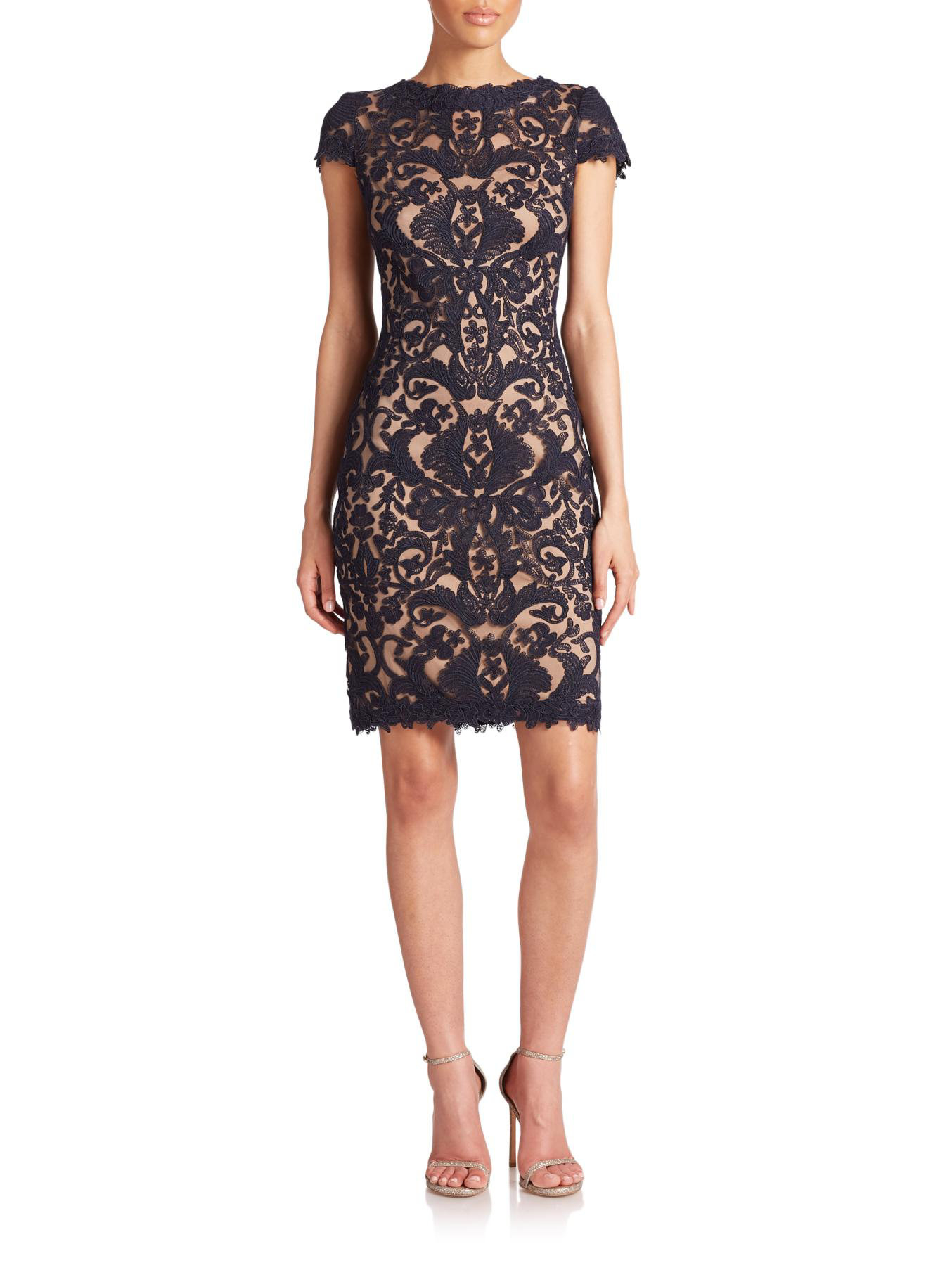 Tadashi Shoji Cord Embroidered Lace Cocktail Dress In Blue