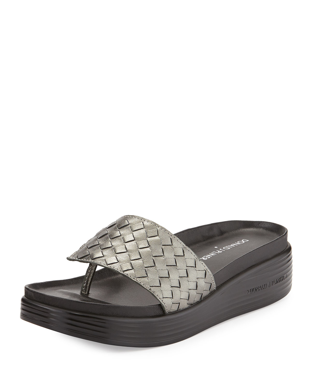 Donald J Pliner Fifi Woven Platform Sandal In Metallic Lyst