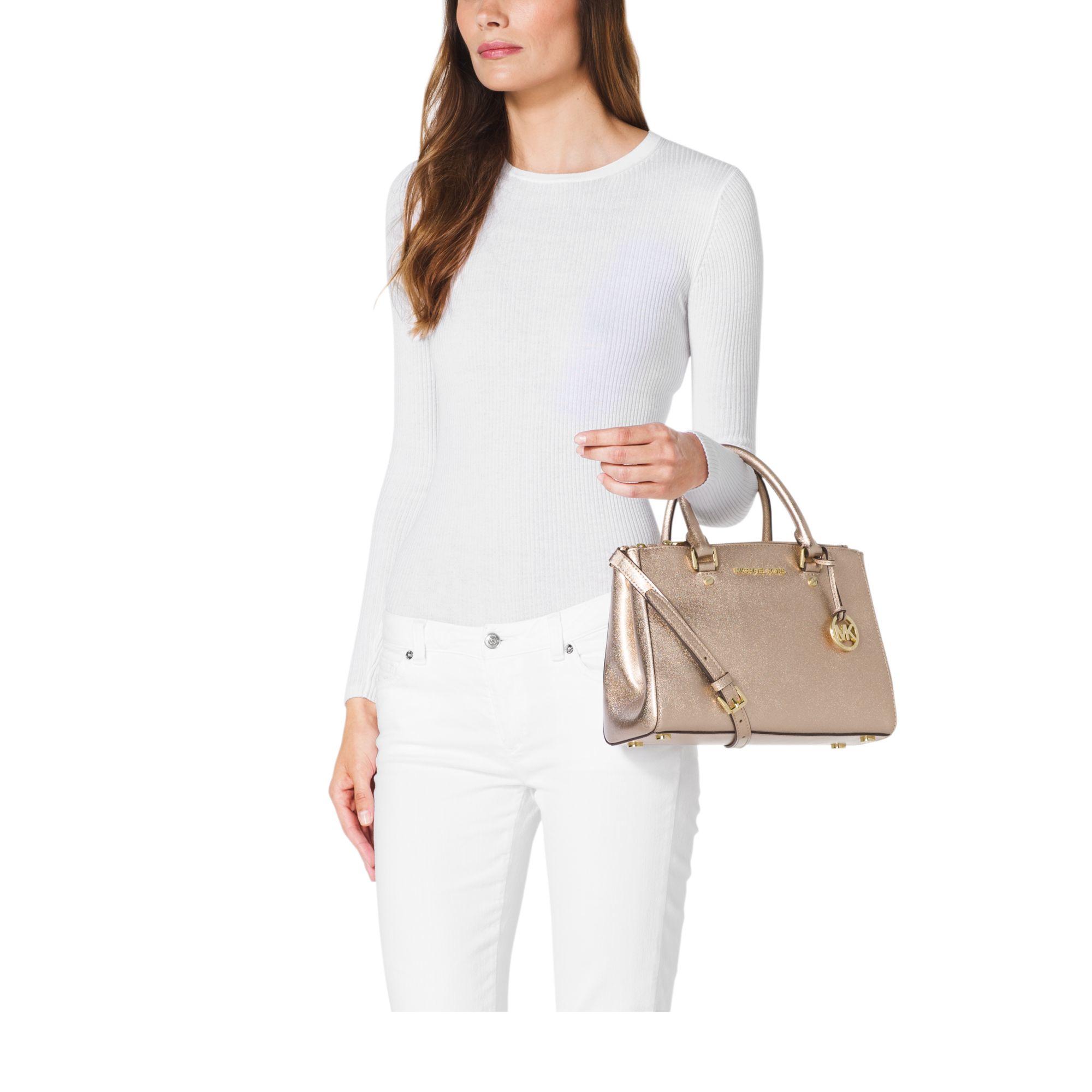 eafb91f616 ... medium satchel handbag black aac9e 4c6b0  canada lyst michael kors  sutton small metallic leather satchel in metallic b0c25 87997