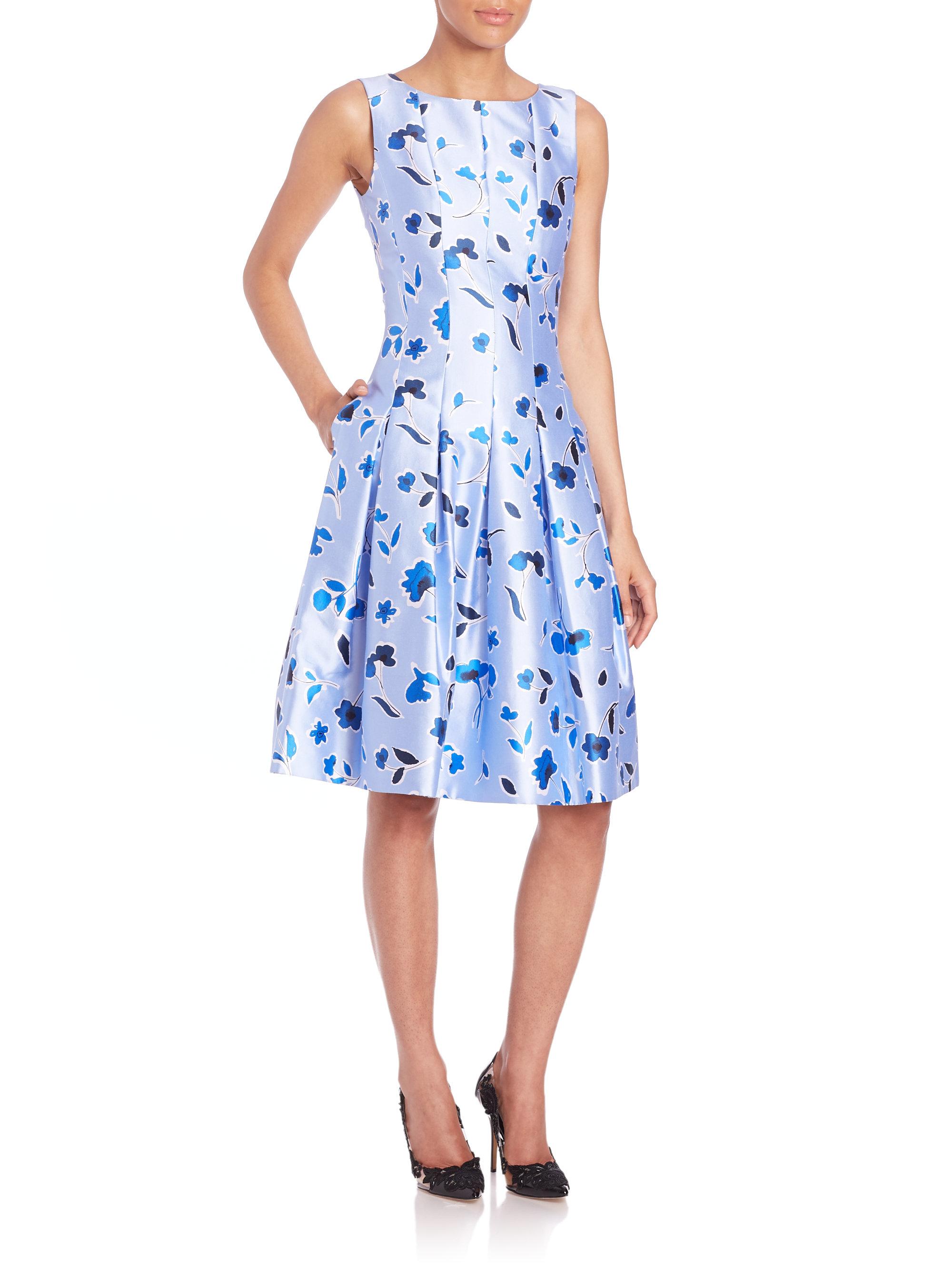 lyst oscar de la renta sleeveless floral fit flare dress. Black Bedroom Furniture Sets. Home Design Ideas