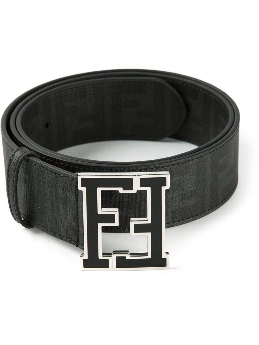 6e148b1bf2 Lyst - Fendi  Zucca  Belt in Black for Men