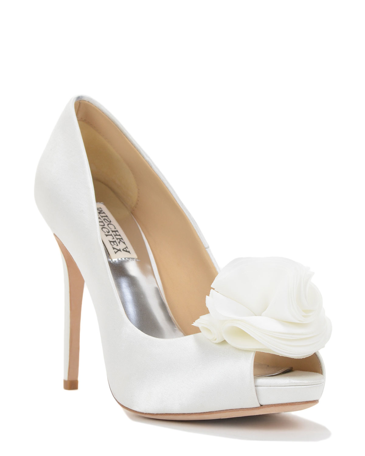 badgley mischka silk ruffle evening shoe in white lyst