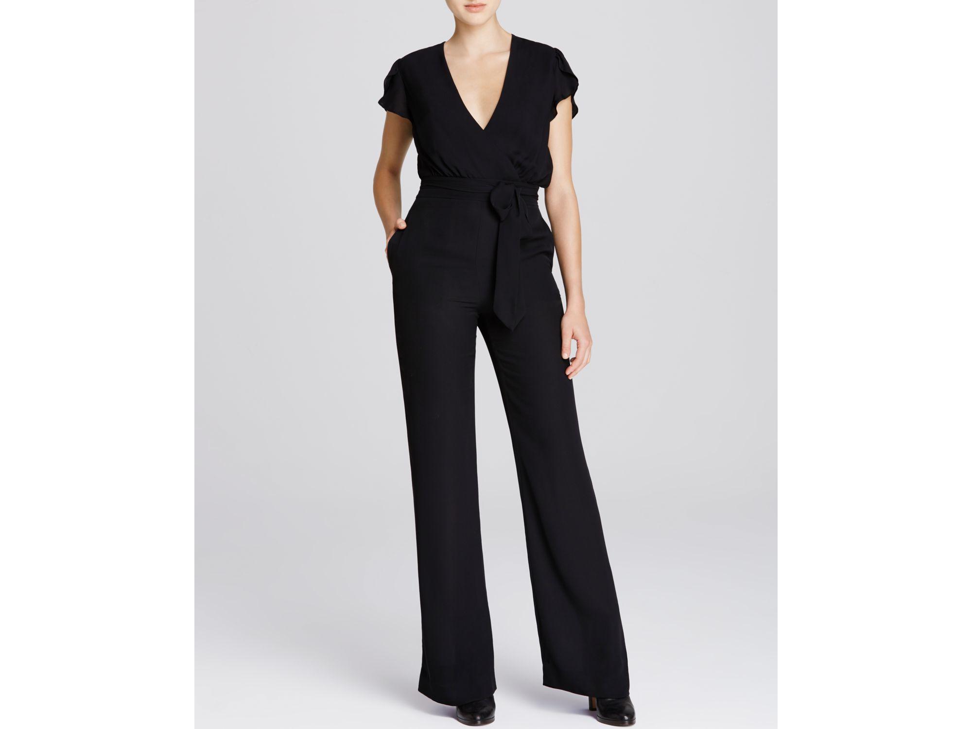 1b0c11412597 Lyst - Diane von Furstenberg Kacey Flutter Sleeve Jumpsuit in Black