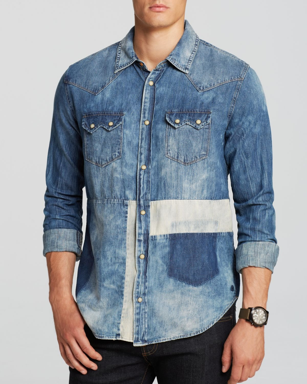 360ae64aea Lyst - Scotch   Soda Sawtooth Denim Button Down Shirt - Slim Fit in ...