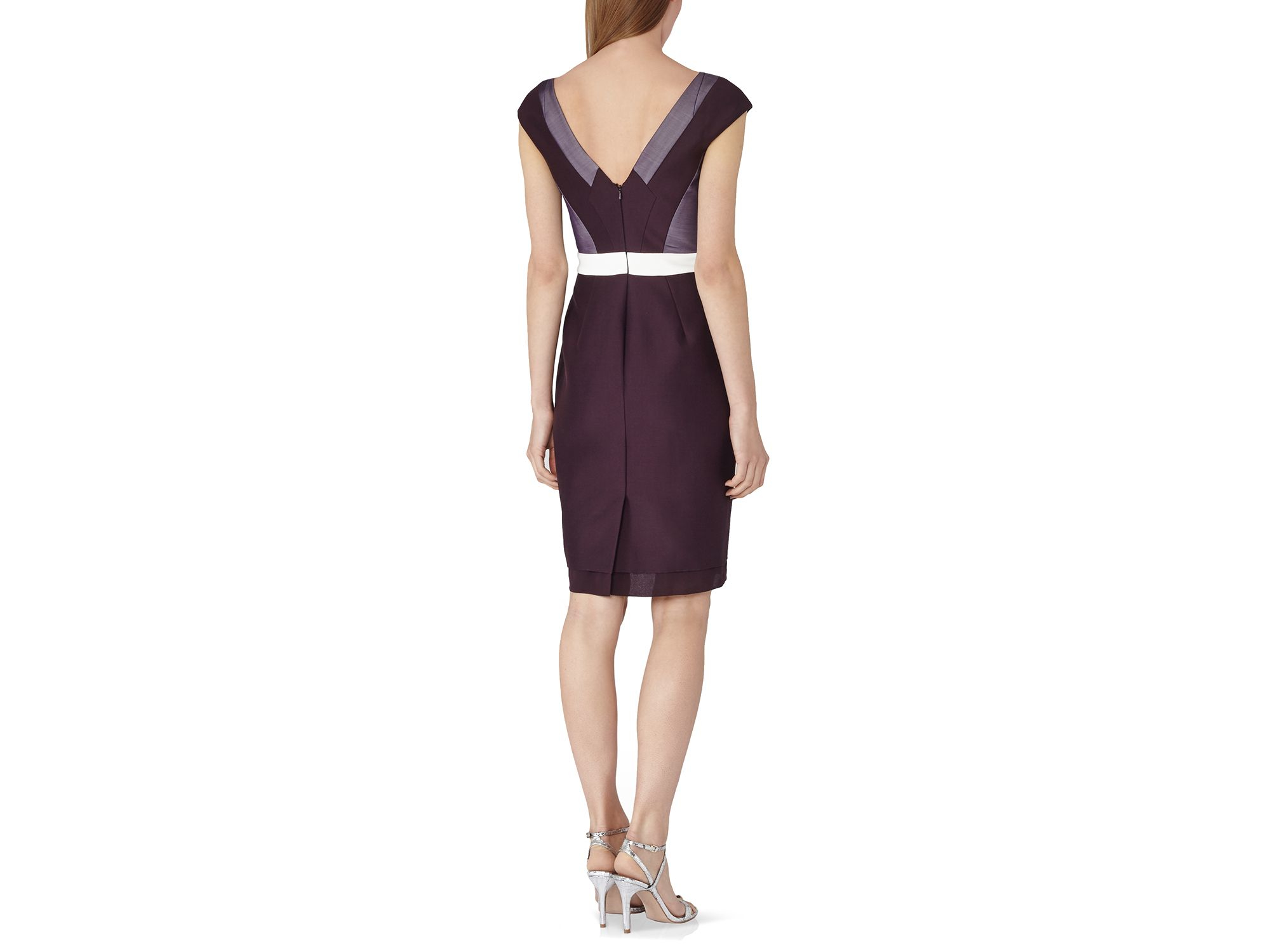 Lyst - Reiss Lianora Embellished Color Block Dress in Purple