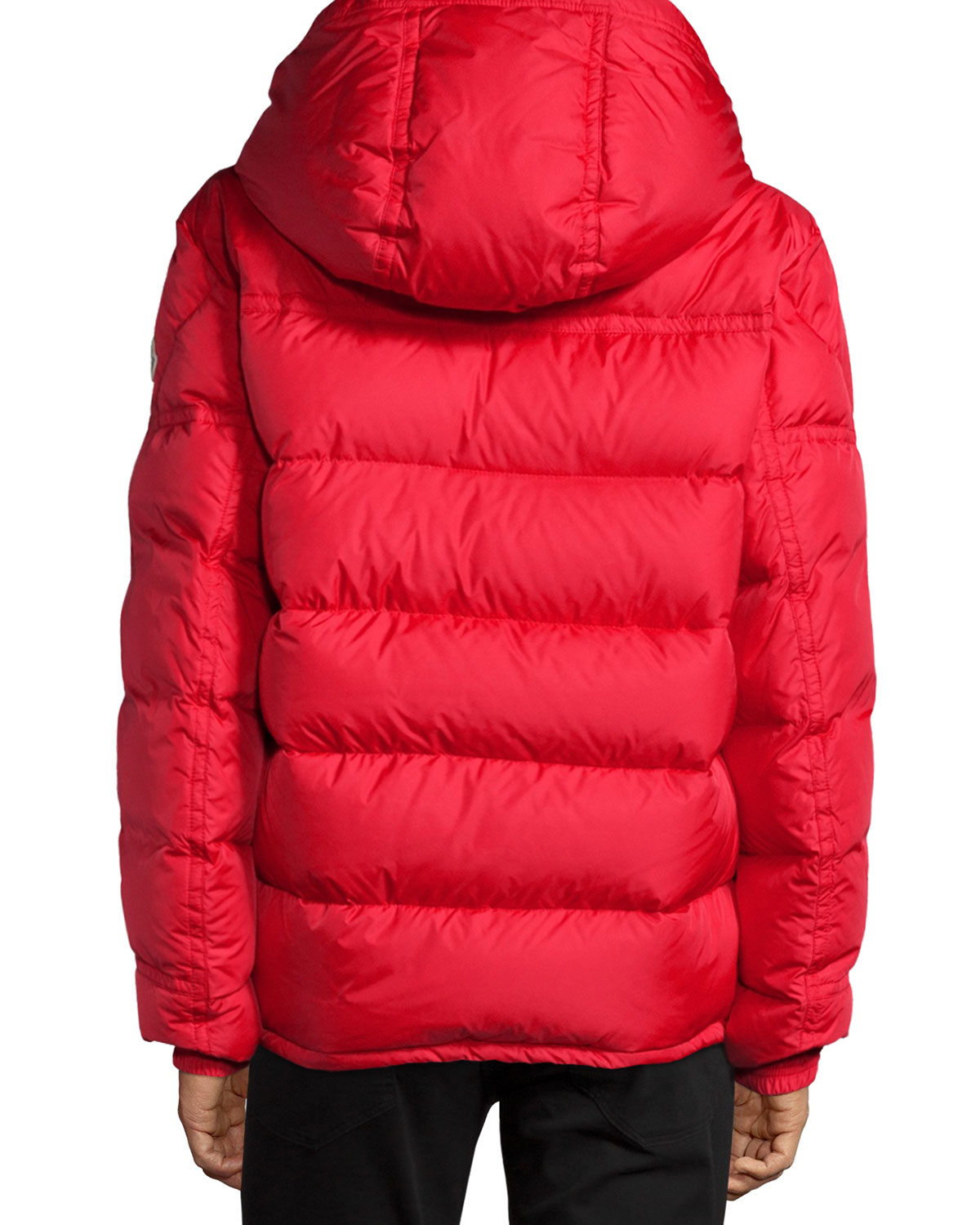 Moncler Brel Puffer Jacket With Removable Hood In Red For