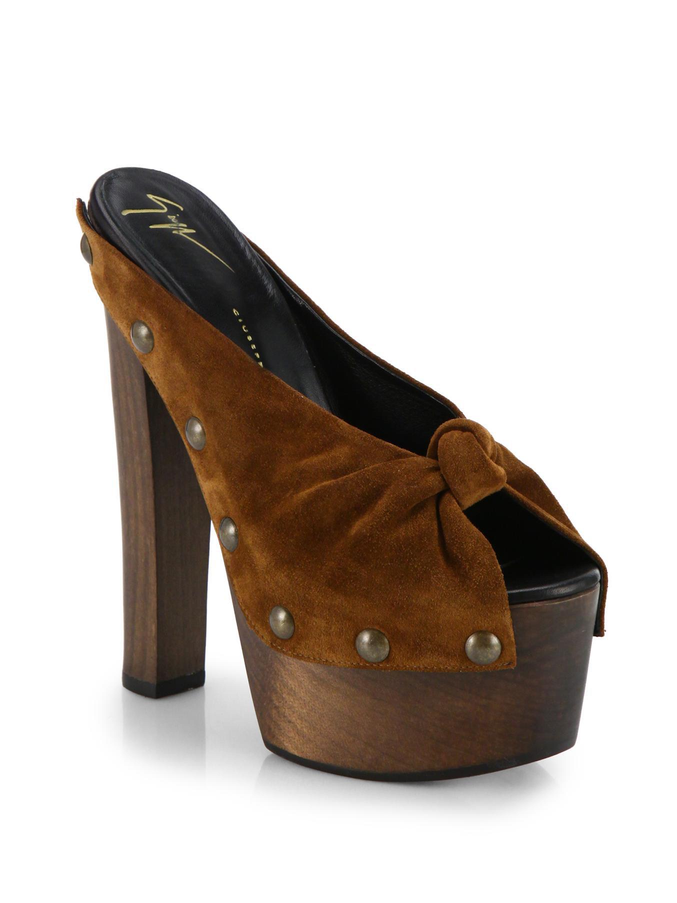giuseppe zanotti studded suede wooden platform sandals in