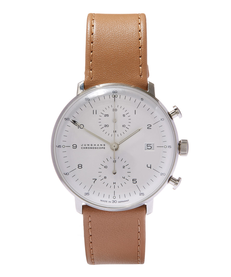 lyst junghans beige max bill chronoscope watch in brown. Black Bedroom Furniture Sets. Home Design Ideas