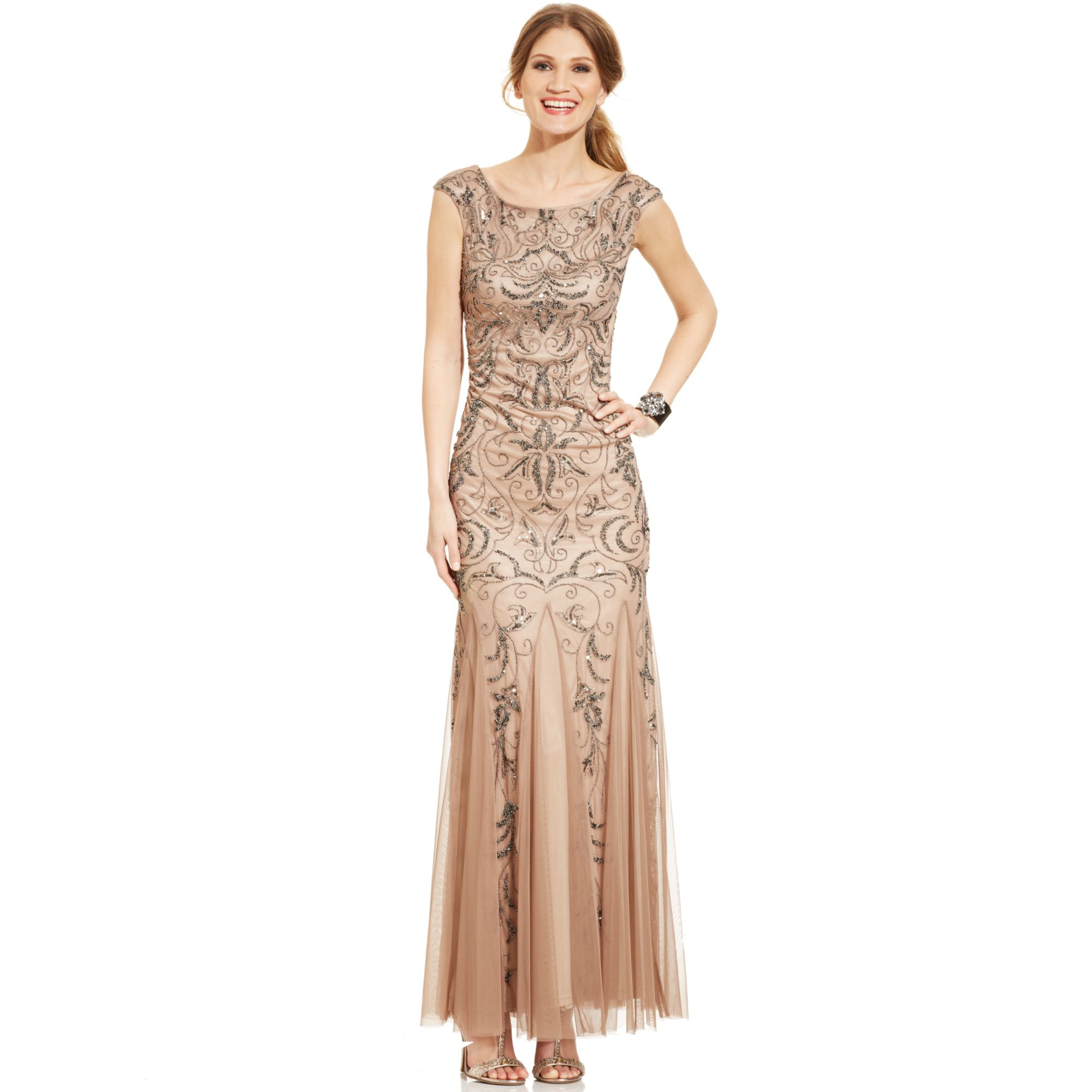 Lyst - Adrianna Papell Capsleeve Beaded Mermaid Gown in Natural