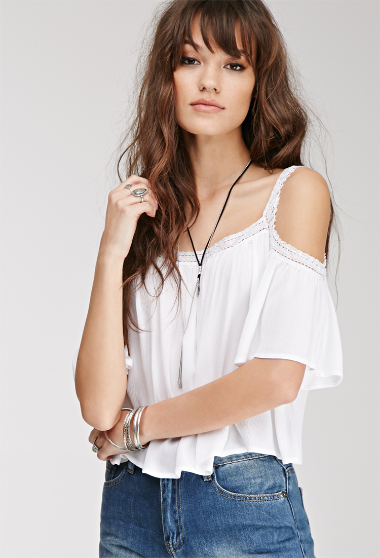 be9684d6cce Forever 21 Lace-trimmed Off-the-shoulder Top in White - Lyst
