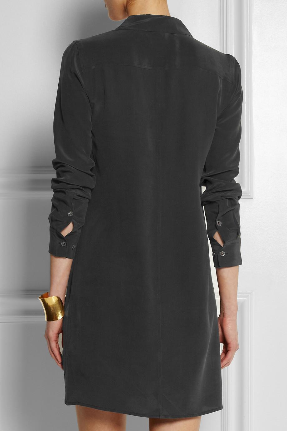 Equipment lucida washed silk shirt dress in black lyst for Equipment black silk shirt