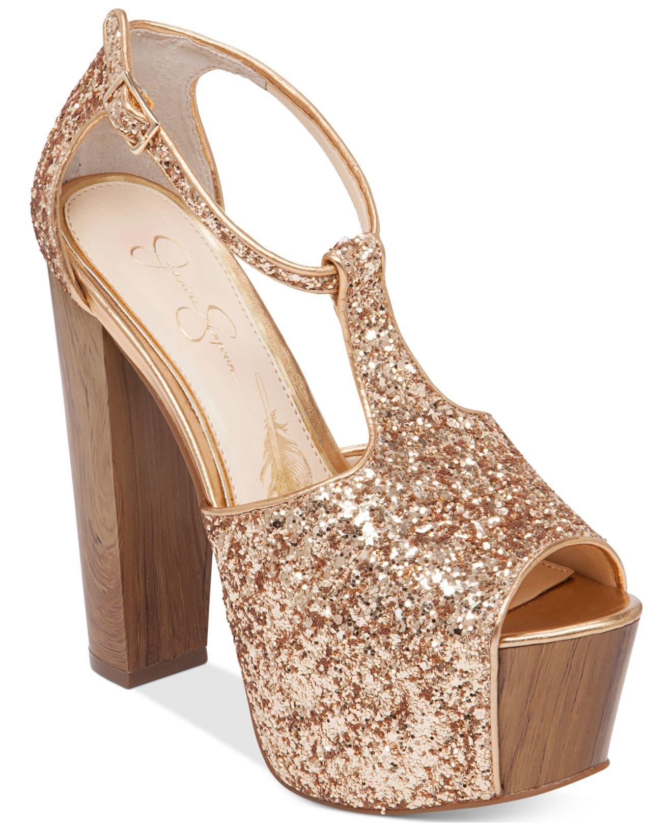 5aff092940d Lyst - Jessica Simpson Dany T-strap Platform Dress Sandals in Metallic