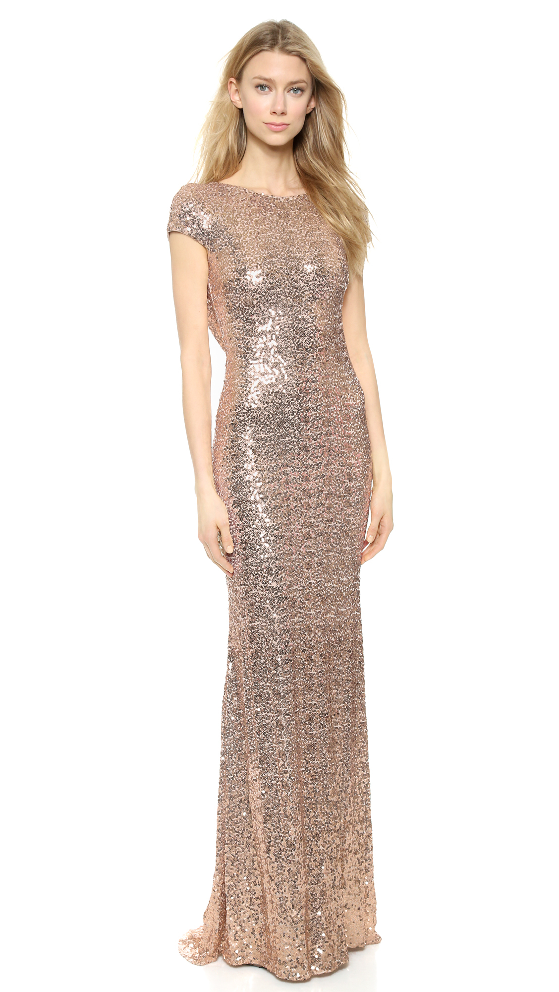 Badgley mischka sequin cowl back gown in pink save 16 for Badgley mischka store nyc