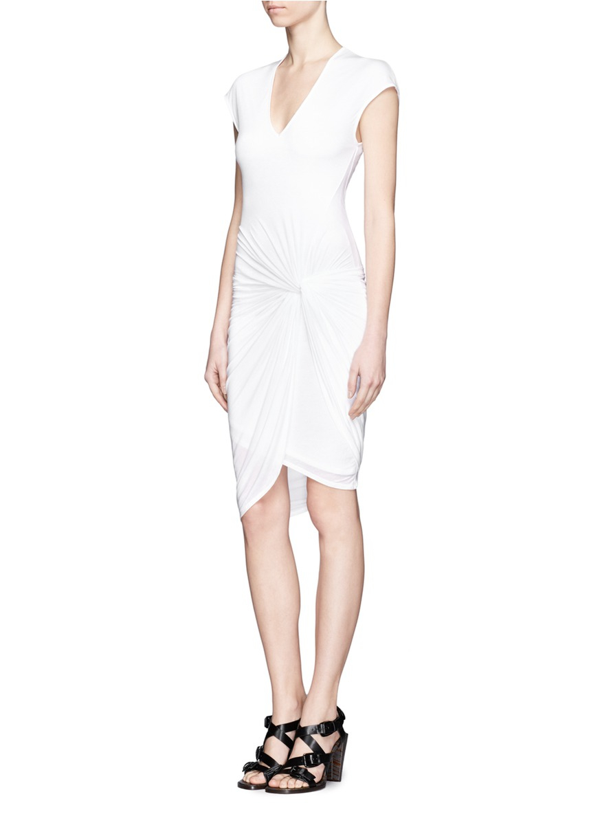 Twist-front Stretch-jersey Mini Dress - White Helmut Lang 6lBER3ZyoM