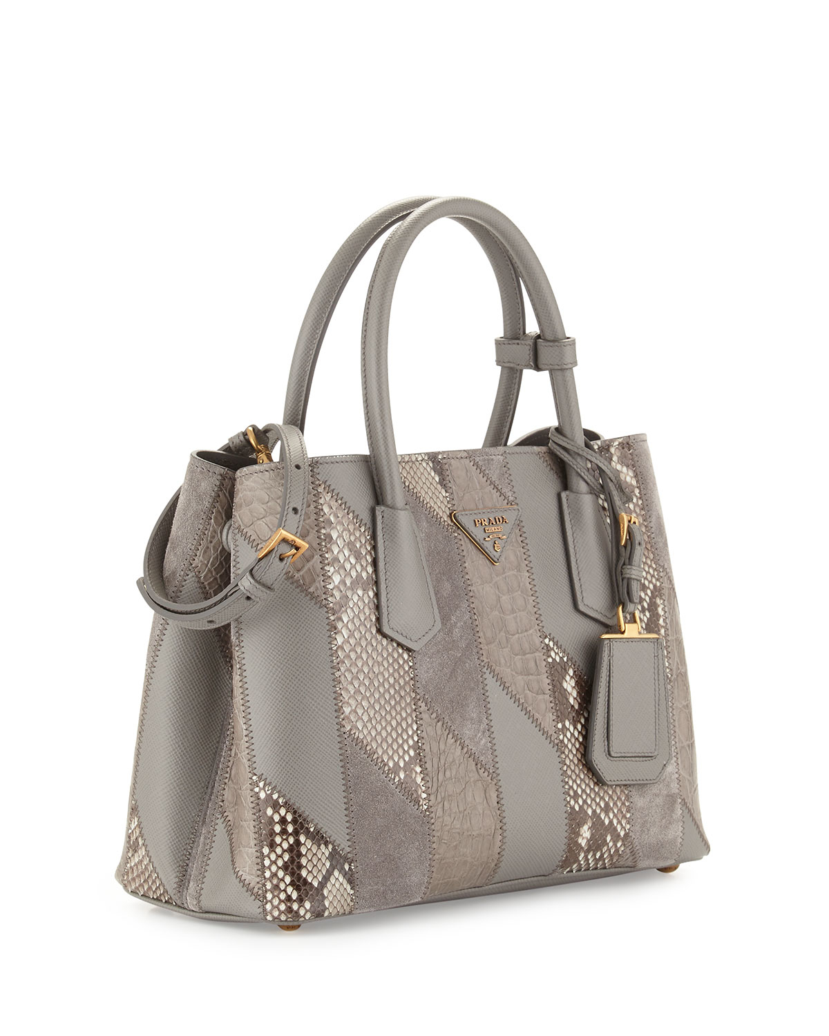 Prada Python \u0026amp; Crocodile Patchwork Small Tote Bag in Brown (LIGHT ...