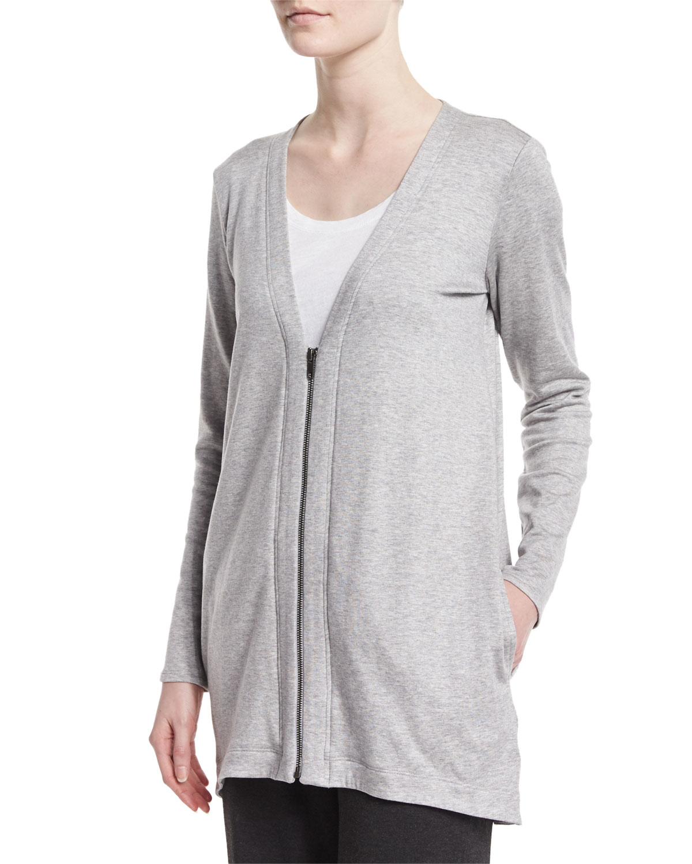 Eileen fisher Long Fleece Cardigan in White | Lyst