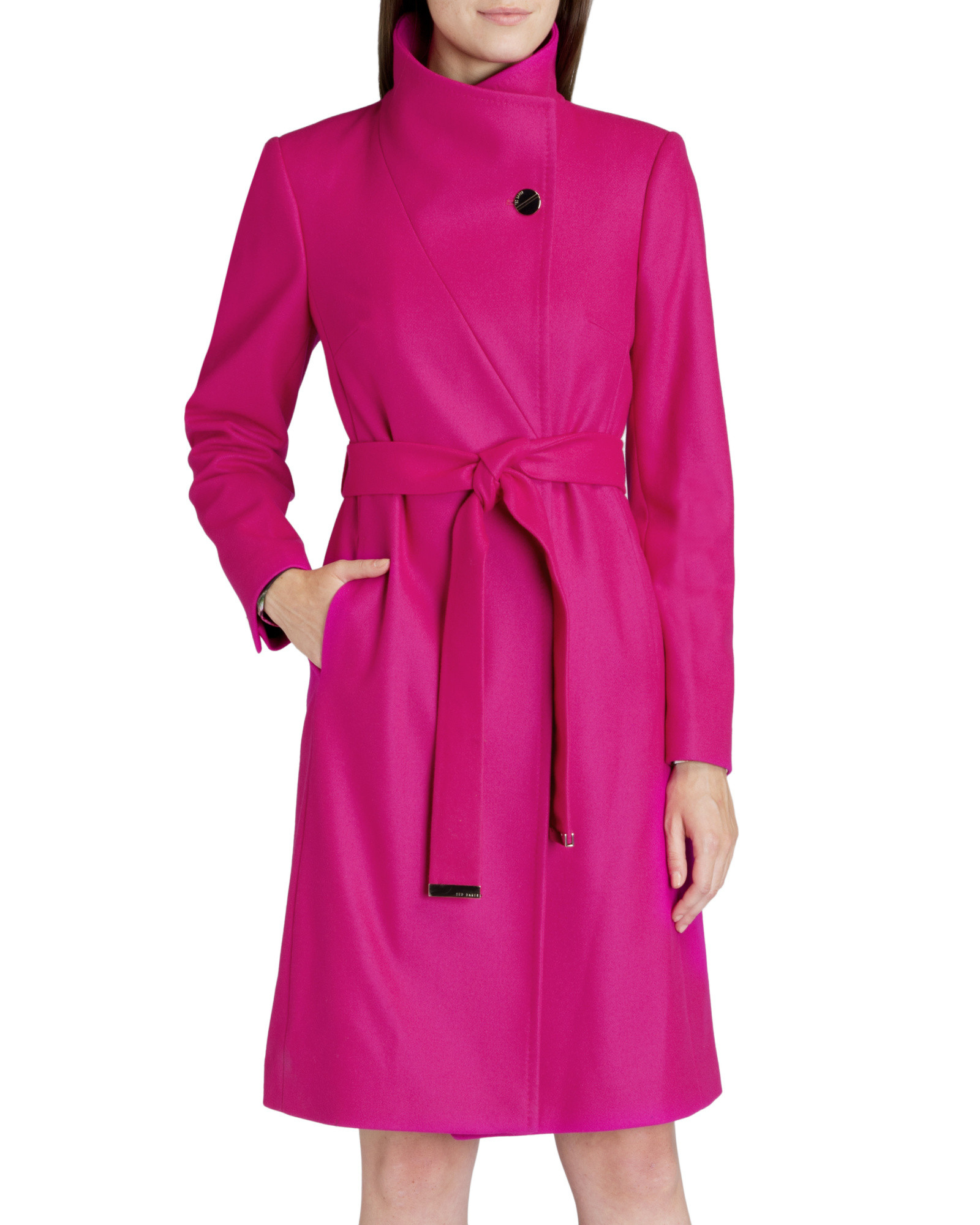 Ted baker Belted Wrap Coat in Pink | Lyst