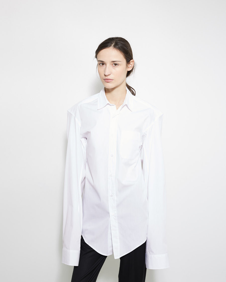 Vetements Long Sleeve Button Up Shirt In White Lyst