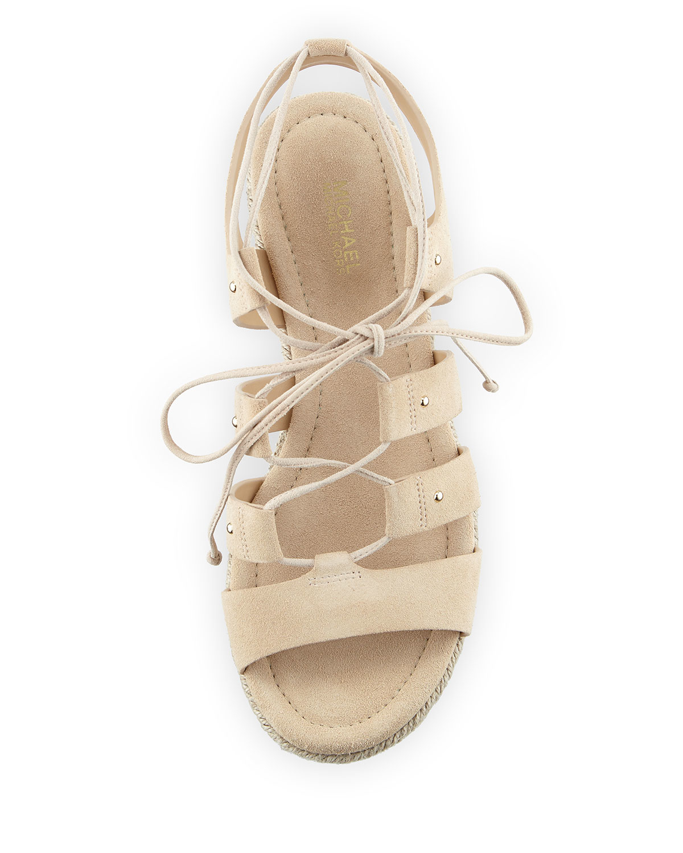 2bfab2dd40a Lyst - MICHAEL Michael Kors Sofia Lace-up Mid-wedge Sandal in Metallic