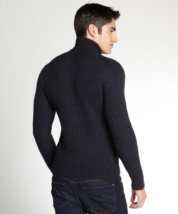 Gucci Navy Wool Blend Ribbed Turtleneck Sweater in Blue for Men | Lyst