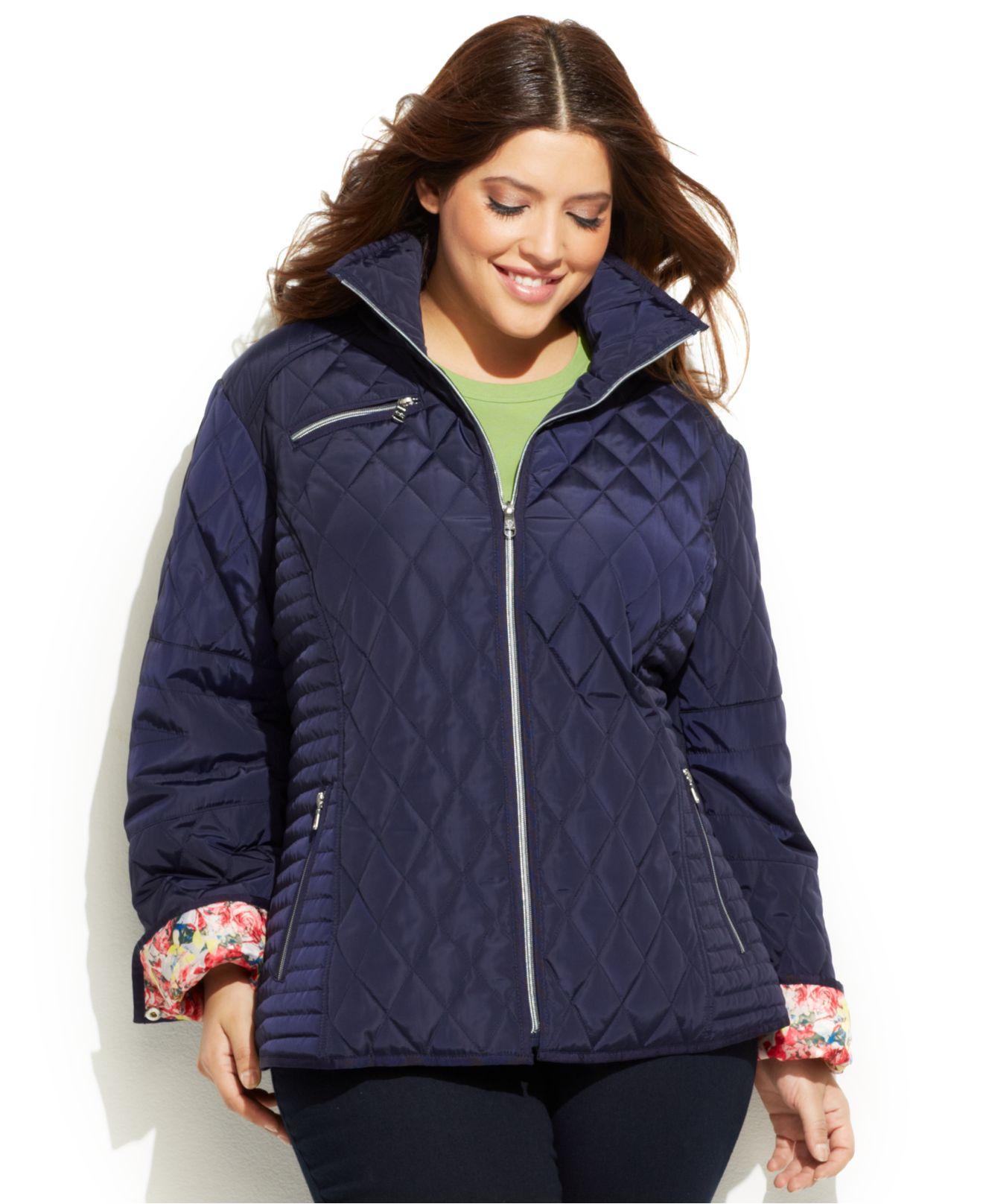 Jessica simpson Plus Size Floral-Trim Quilted Jacket in Blue   Lyst : quilted jacket plus size - Adamdwight.com