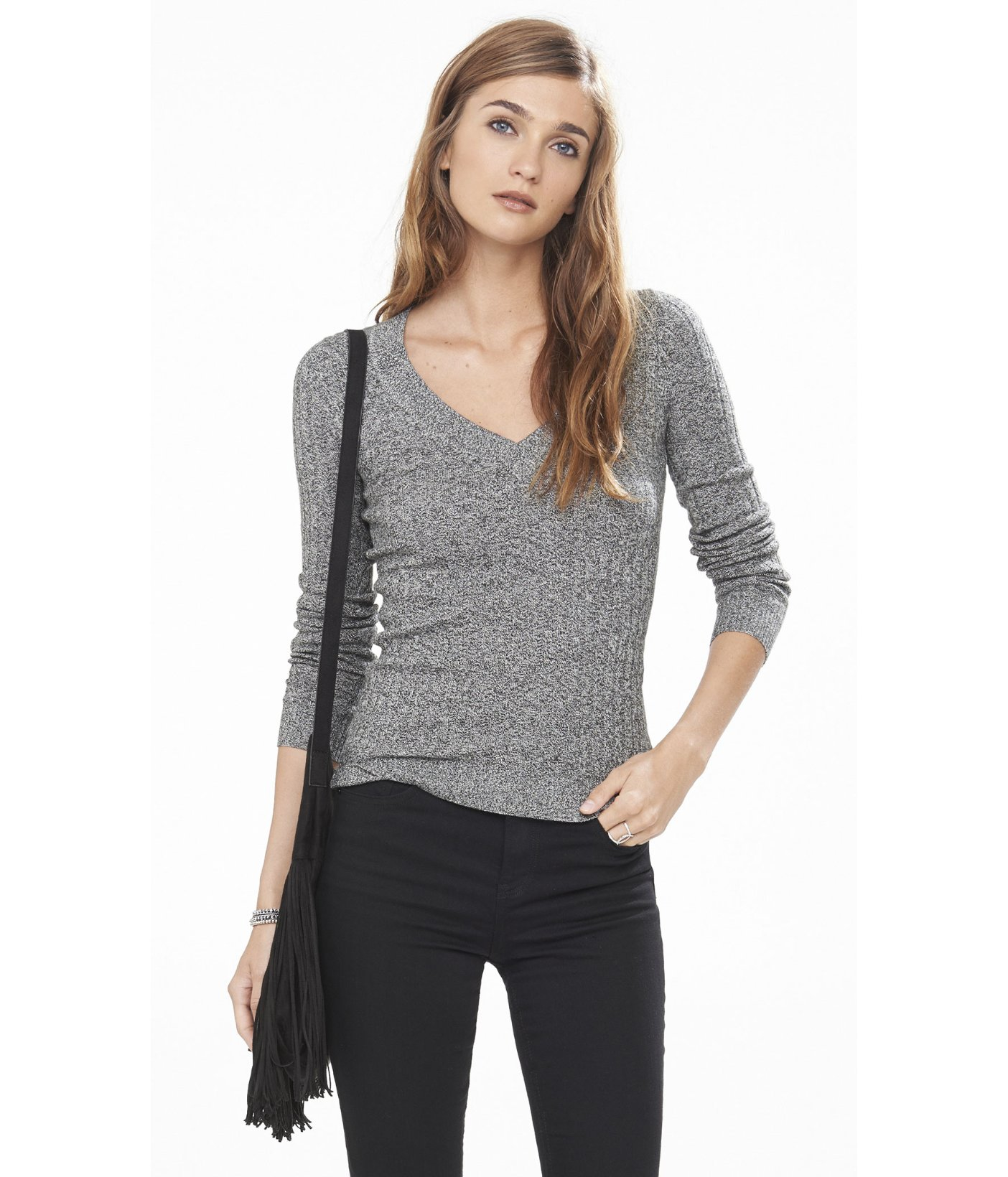 Express Marl Ribbed Fitted V-neck Sweater in Black | Lyst