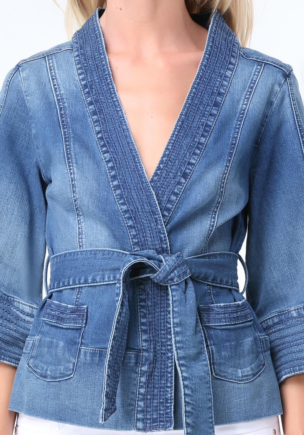 Bebe Denim Kimono Jacket In Blue Lyst