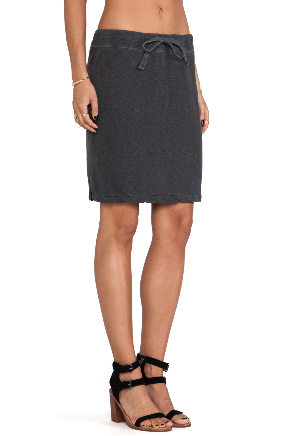 James perse Drawstring Vintage Cotton Skirt in Black | Lyst