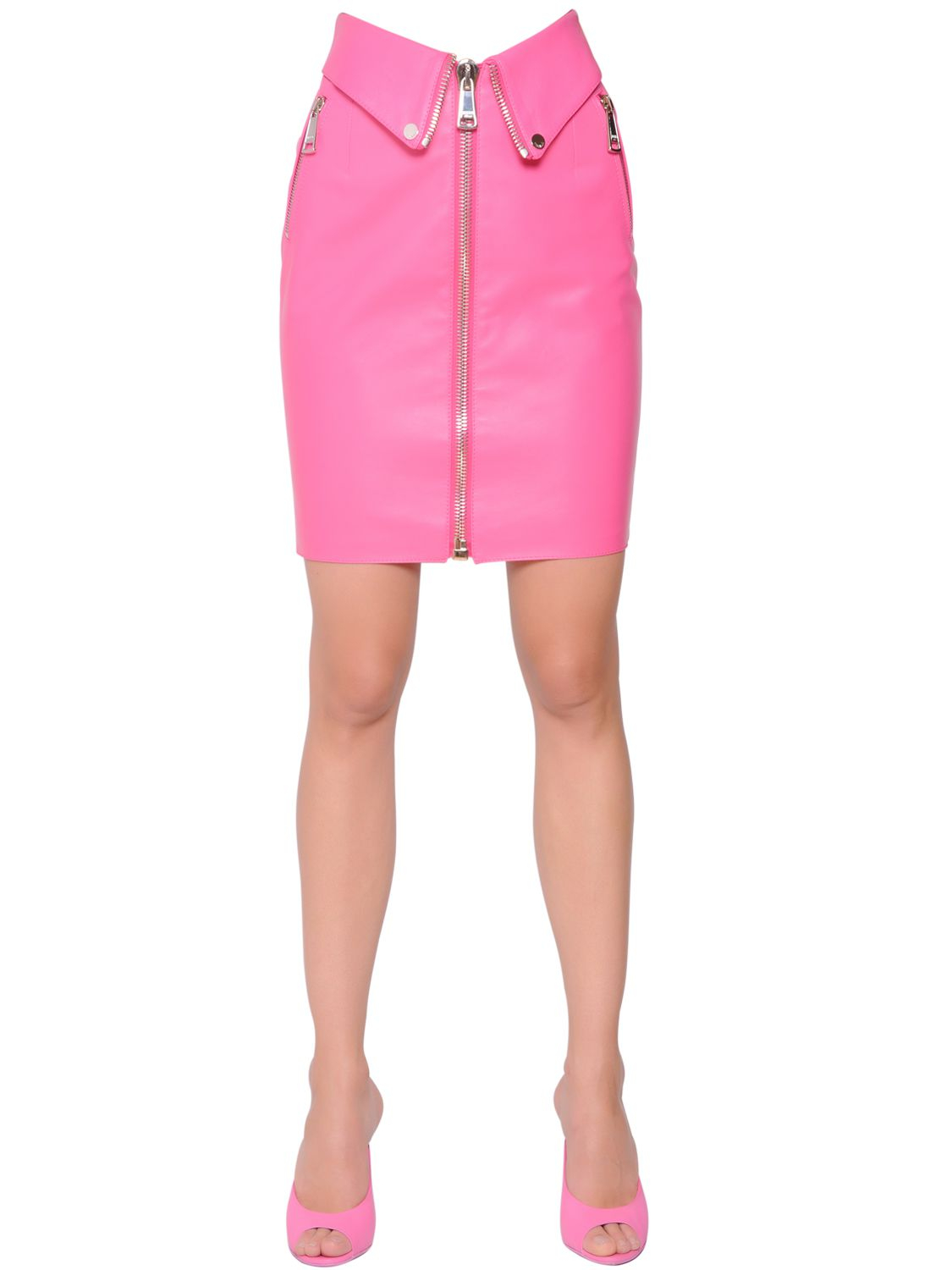 Neon in the workplace: nude cardigan, white tank, neon pink pencil skirt and orange heels. Find this Pin and more on Think Pink!When You Shop for Summer Clothes by Elle Keck. pink pencil skirt and khaki cardigan. dsquared resort collection by info.